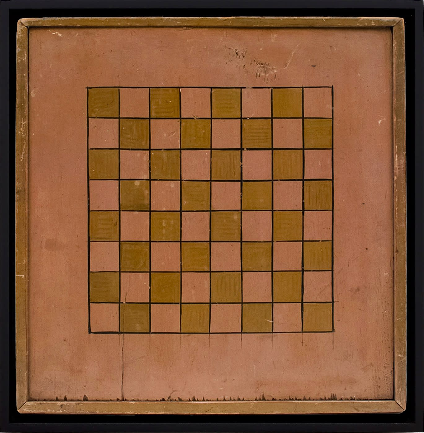 CHECKERS GAME BOARD, LATE 19TH CENTURY Oil based enamel on poplar wood 16 1/4 x 16 in. (AU 244)