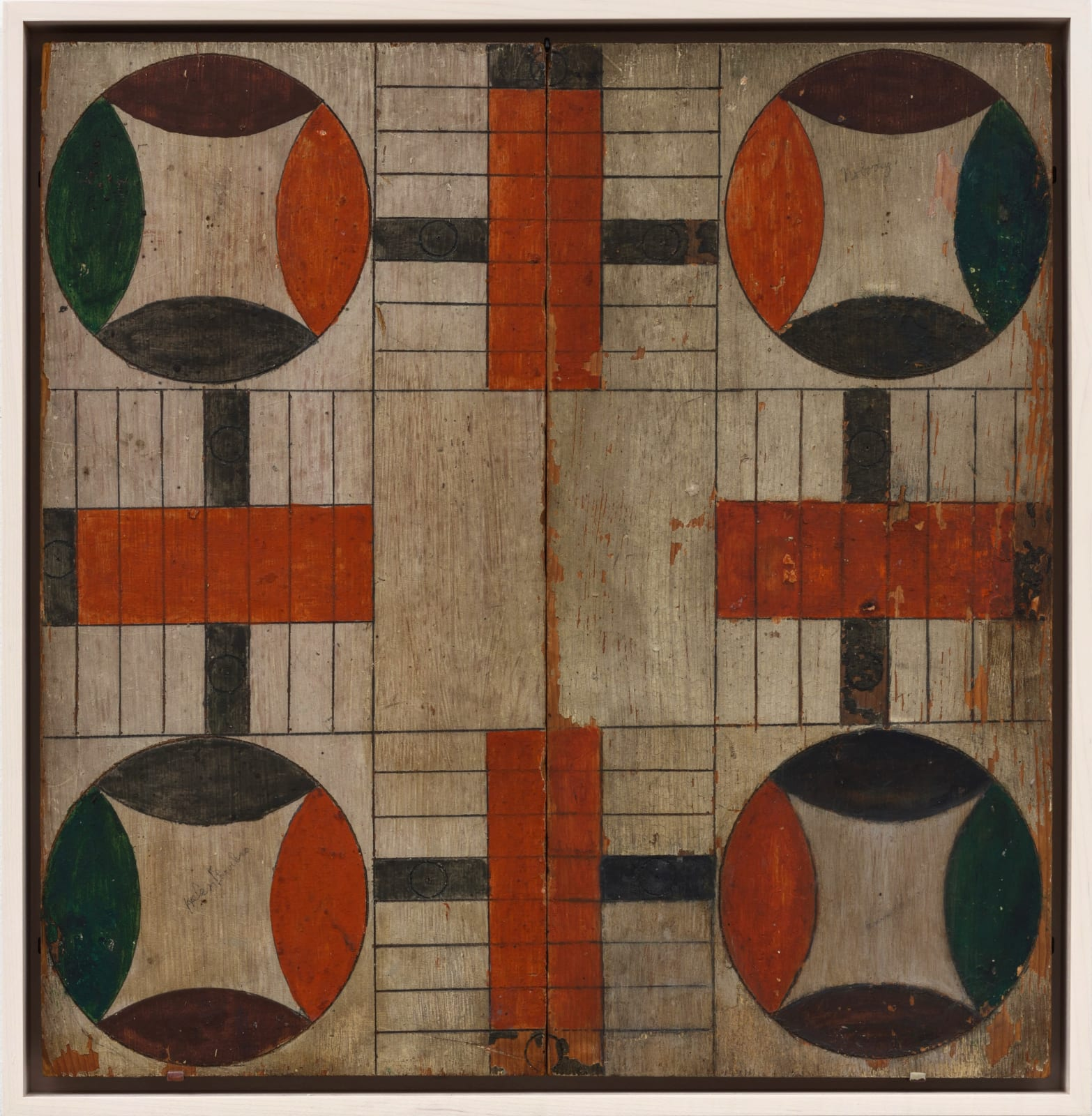 PARCHEESI GAME BOARD, LATE 19TH - EARLY 20TH CENTURY Oil enamel on wood panel 17 1/2 x 18 in. 44.5 x 45.7 cm. (AU 253)