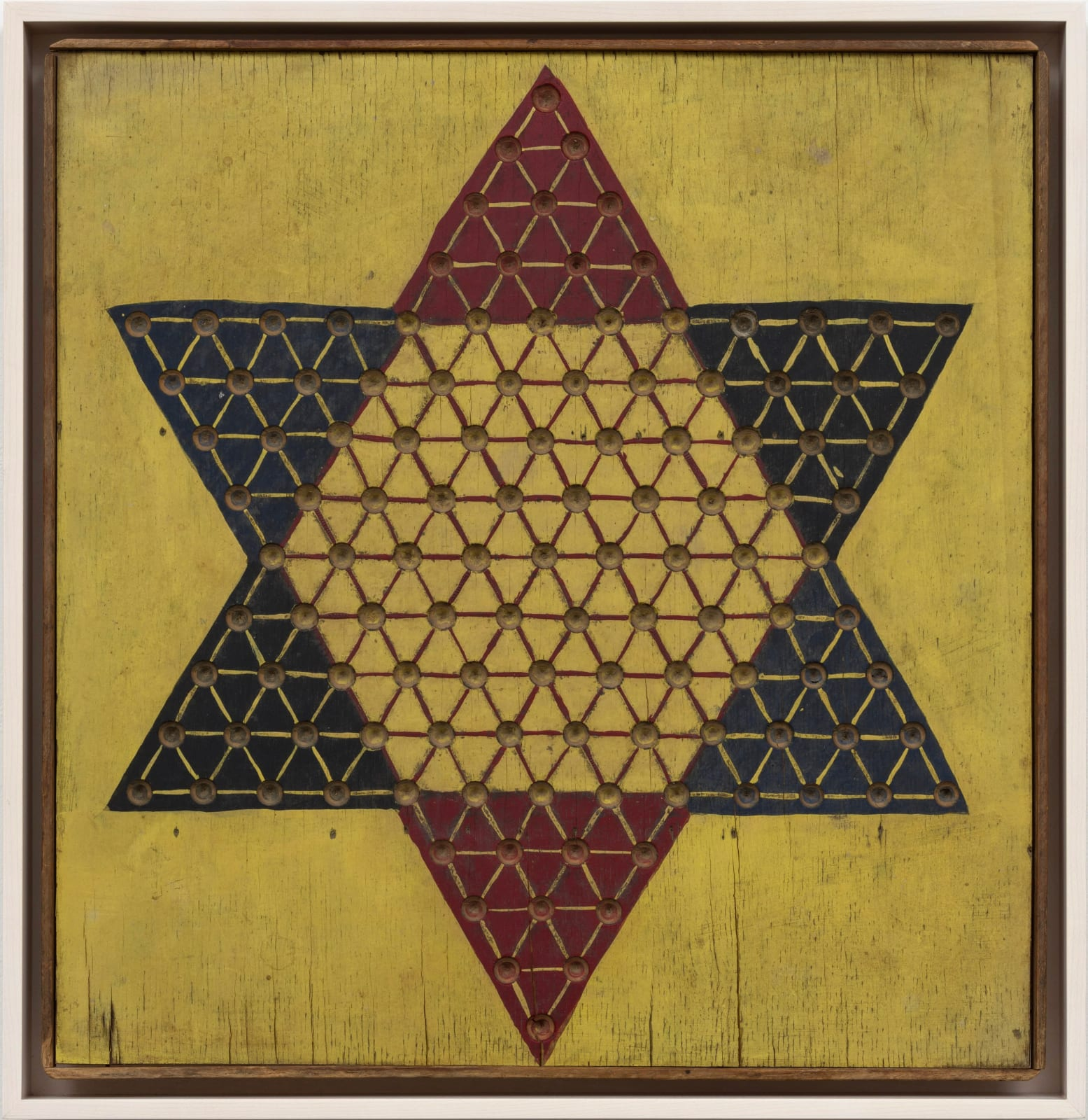 CHINESE CHECKERS BOARD, C. 1930-40 Oil enamel on wood panel 18 1/2 x 17 3/4 in. 47 x 45.1 cm. (AU 258)