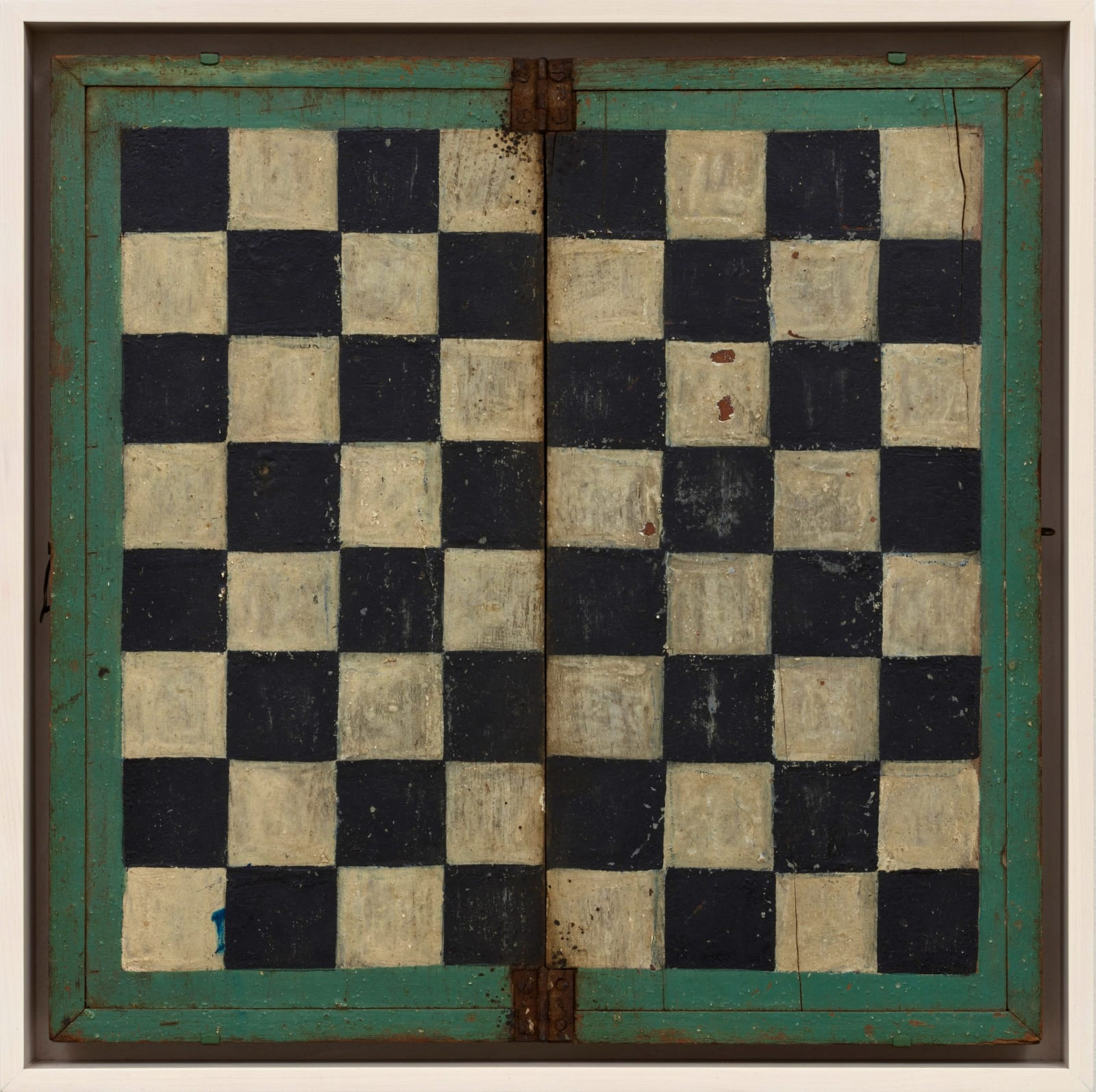 FOLDING CHECKERS BOARD, LATE 19TH-EARLY 20TH CENTURY Oil enamel on wood panel 14 x 14 in. 35.6 x 35.6 cm. (AU 259)