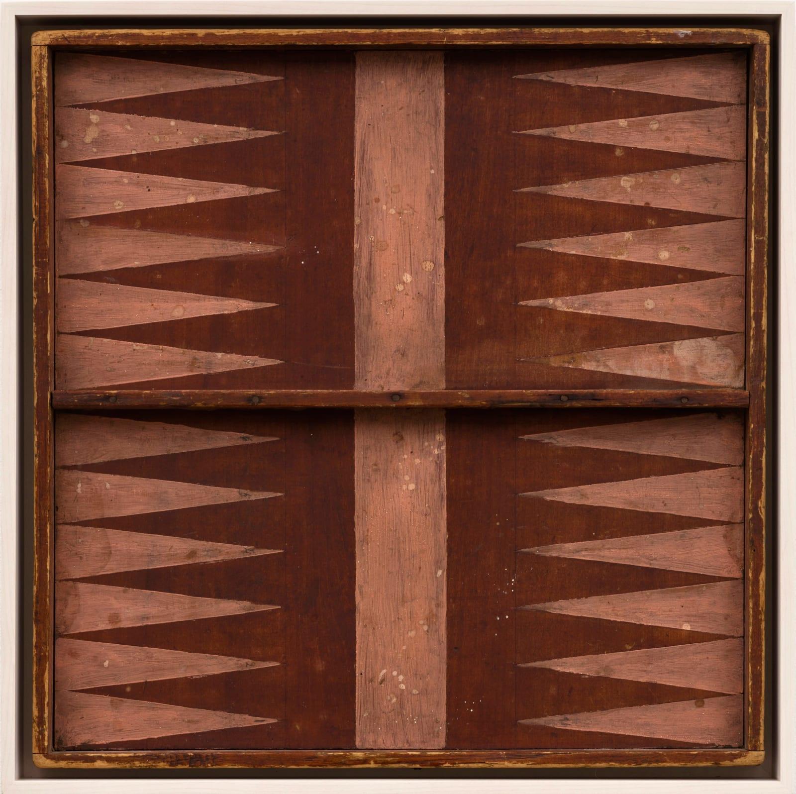 BACKGAMMON GAME BOARD, EARLY 20TH CENTURY Oil enamel on wood panel 18 x 18 in. 45.7 x 45.7 cm. (AU 260)