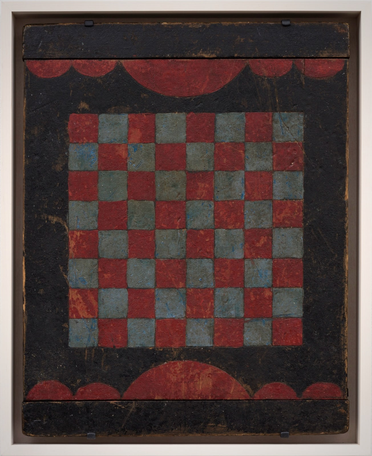 CHECKERS GAME BOARD WITH RED BORDERS, EARLY 20TH CENTURY Oil enamel paint on wood panel 11 x 14 in. 27.9 x 35.6 cm. AU 261