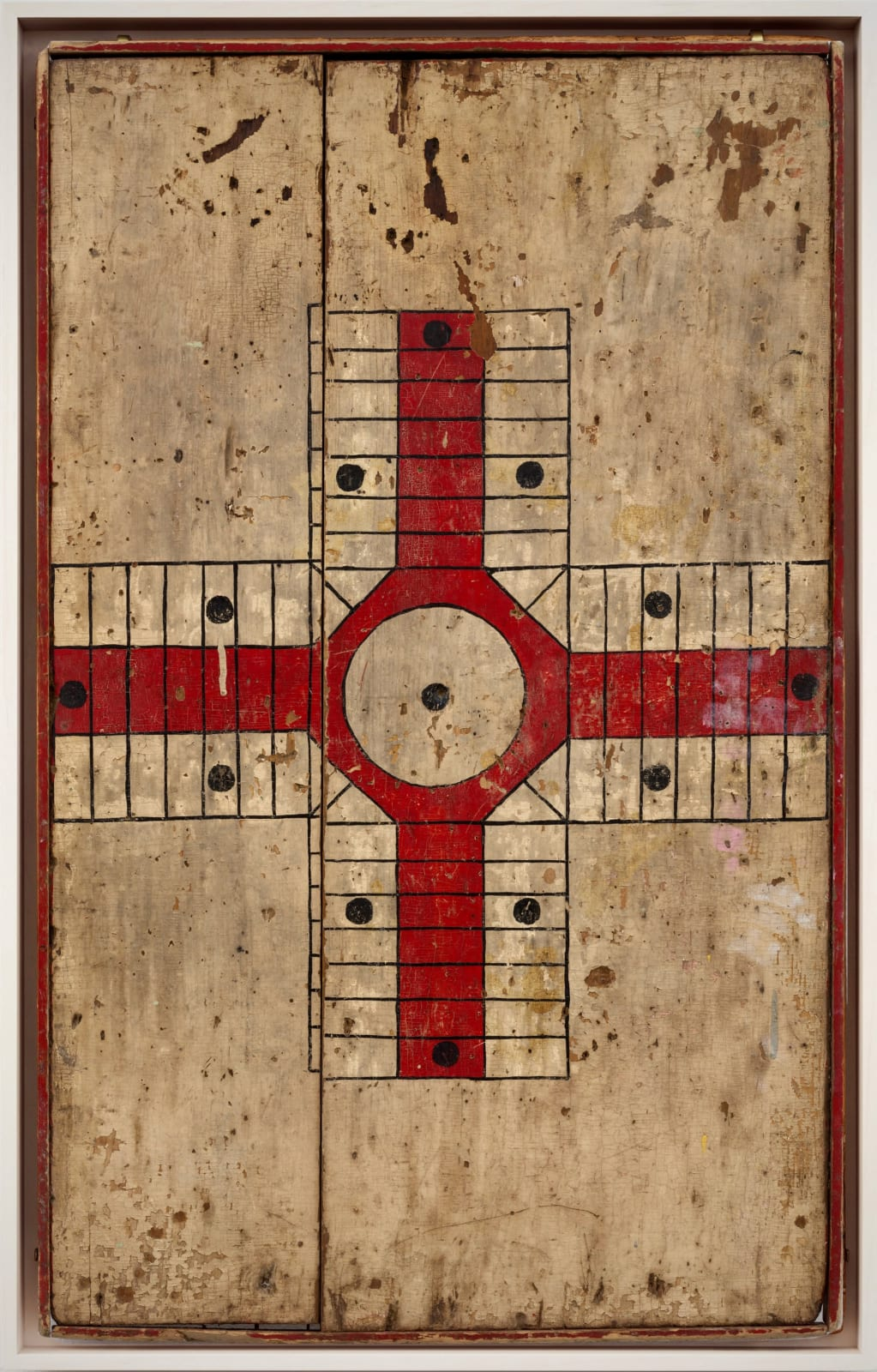 PARCHEESI GAME BOARD, EARLY 20TH CENTURY Oil enamel on wood panel 31 x 19 in. 78.7 x 48.3 cm. (AU 285)
