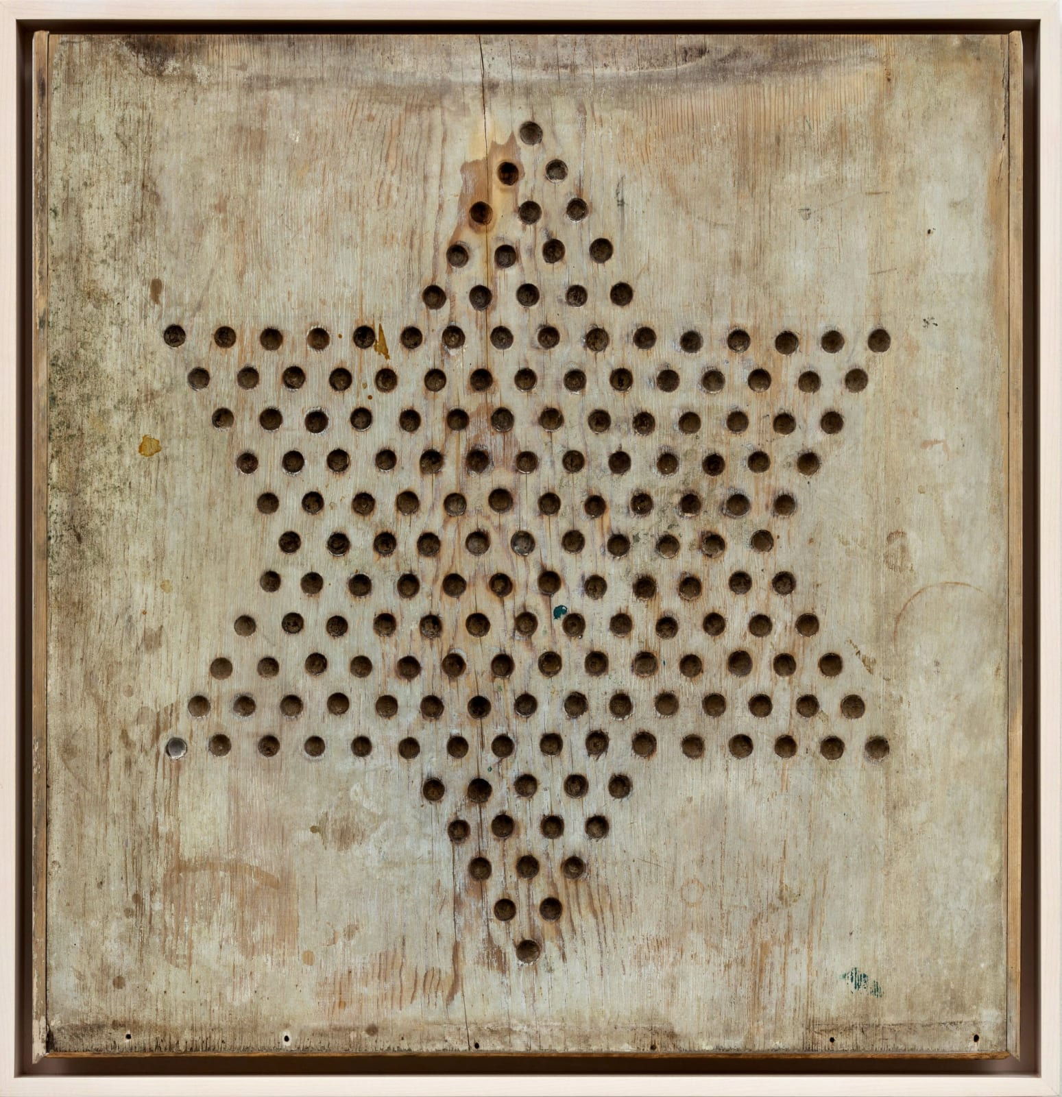 CHINESE CHECKERS GAME BOARD, C. 1920-30 Light grey wash on wood panel 24 1/2 x 23 1/2 in. 62.2 x 59.7 cm. (AU 286)