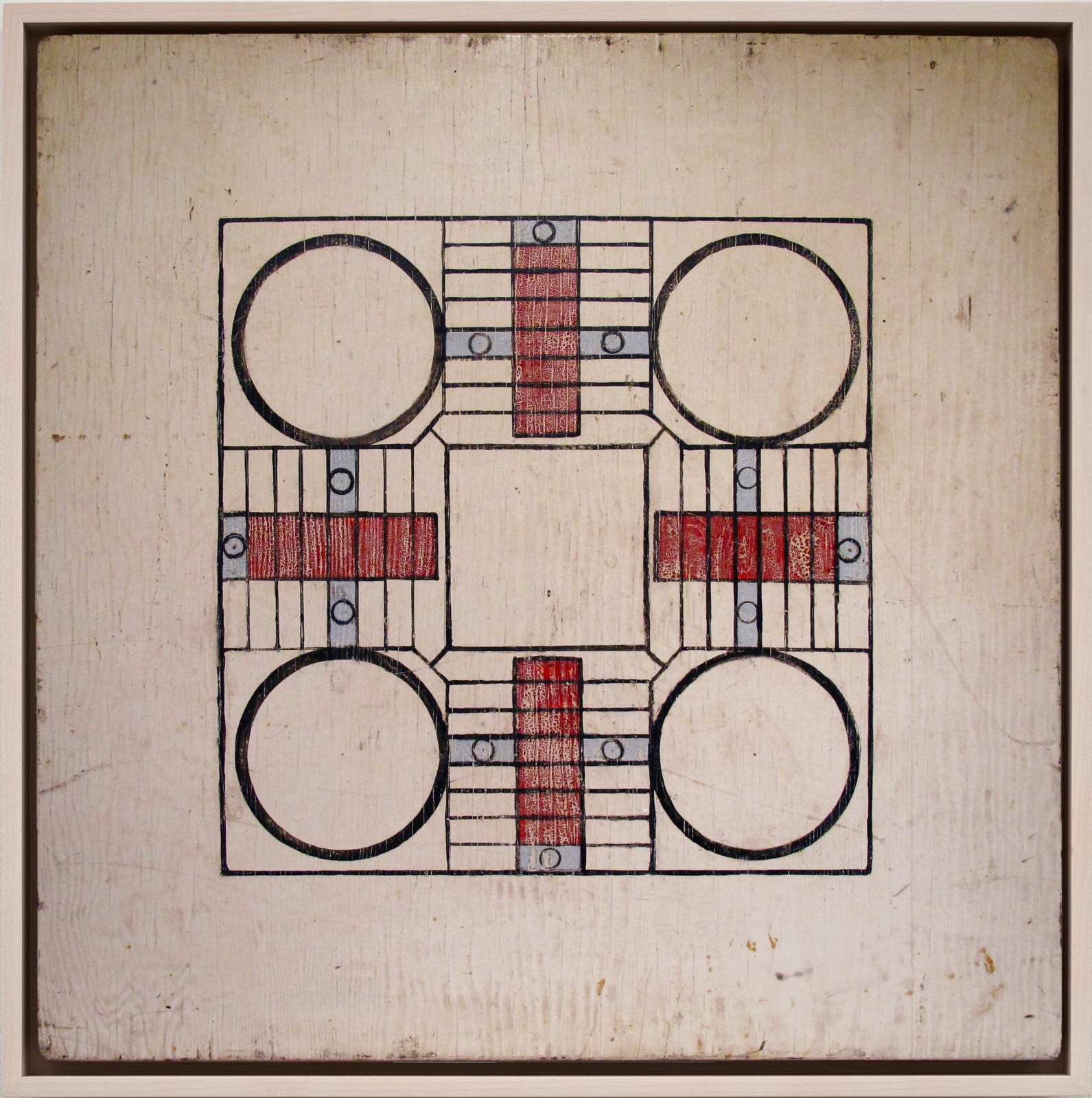 MINIMAL PARCHEESI GAME BOARD, LATE 1940S-EARLY 1950S Oil enamel on wood 30 x 30 3/4 in. 76.2 x 78.1 cm. (AU 291)
