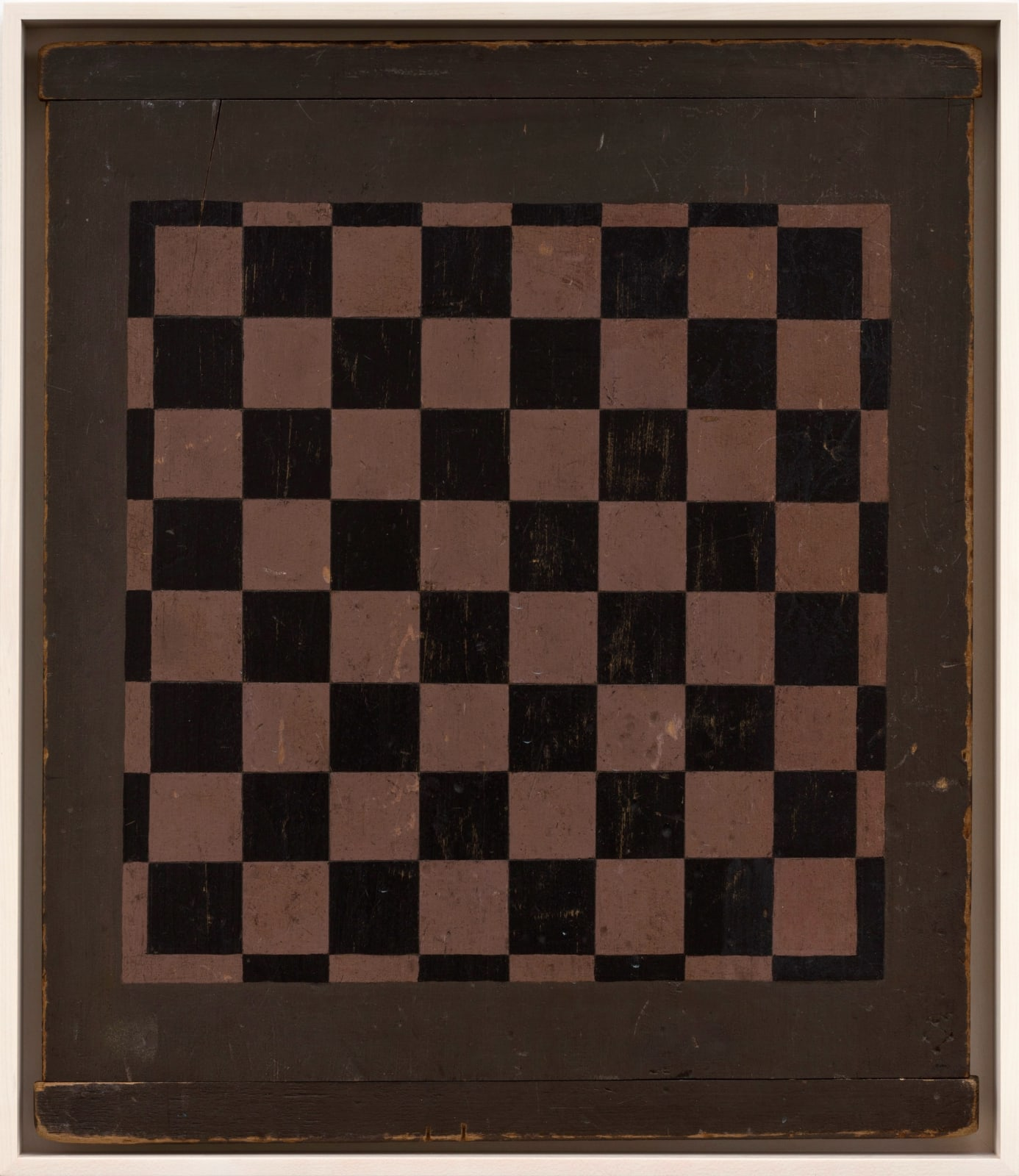 CHECKERS GAME BOARD, C. 1900-1920 WOOD WITH POLYCHROME 22 x 18 3/4 in. 55.9 x 47.6 cm. (AU 292)