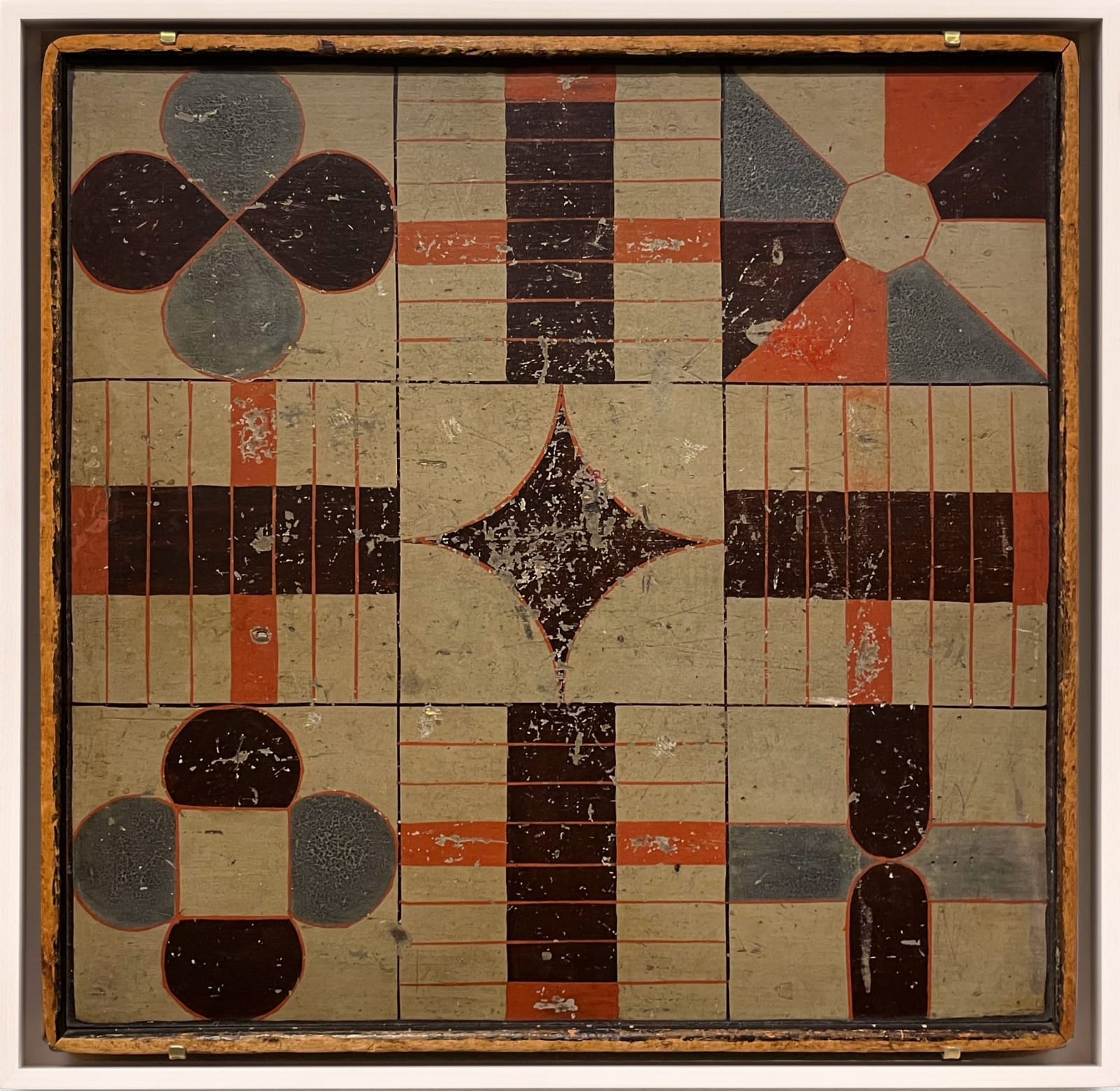 PARCHEESI GAME BOARD, C. 1880-1890 Paint on wood panel 18 x 18 1/2 in. 45.7 x 47 cm. (AU 293)