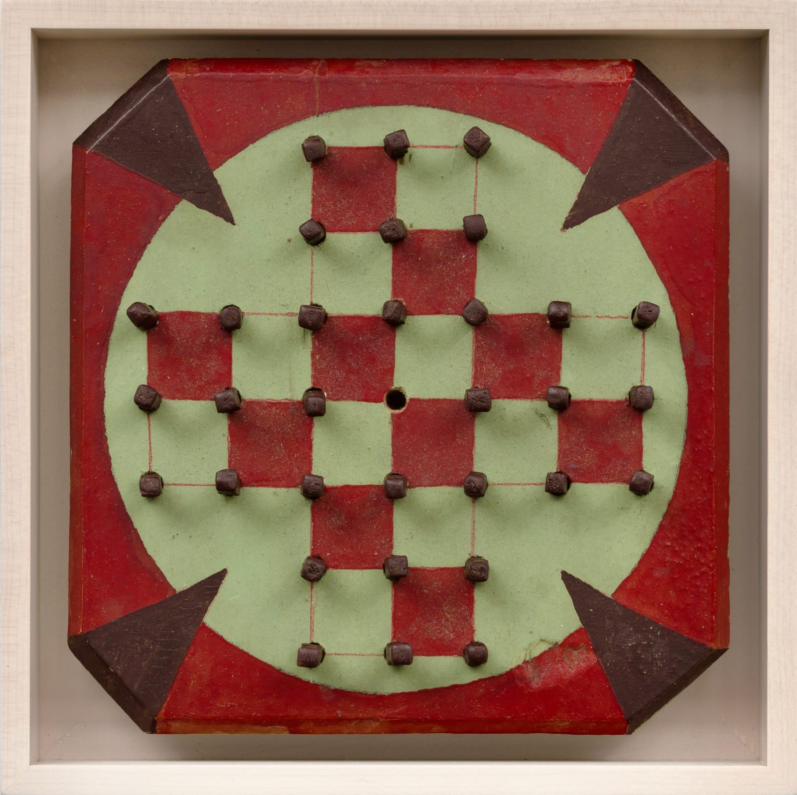 SOLITAIRE GAME BOARD WITH PEGS , C. 1950S 8 5/8 x 8 5/8 in. 21.9 x 21.9 cm. (AU 298)