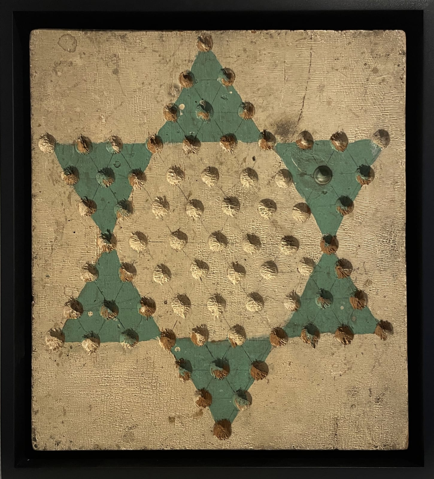 Chinese Checkers Game Board, c. 1930-40 Paint on wood panel 11 1/2 x 10 1/4 in. 29.2 x 26 cm. (AU 299)