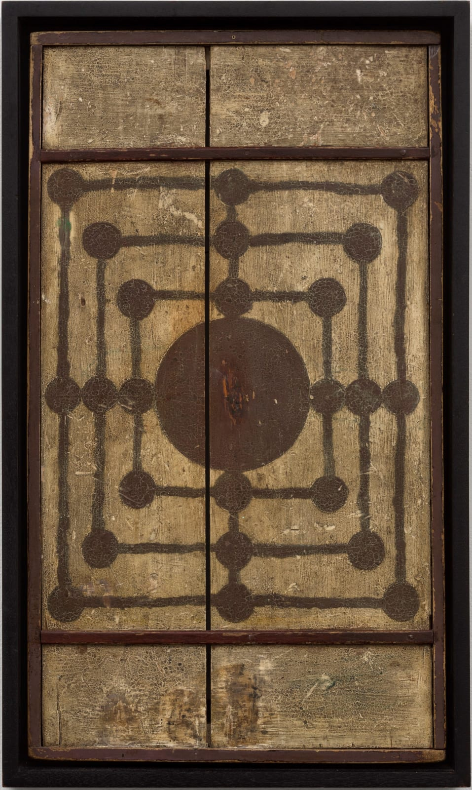 MILLS GAME BOARD, LATE 19TH CENTURY Paint on wood panel 25 x 14 in. (AU 303)