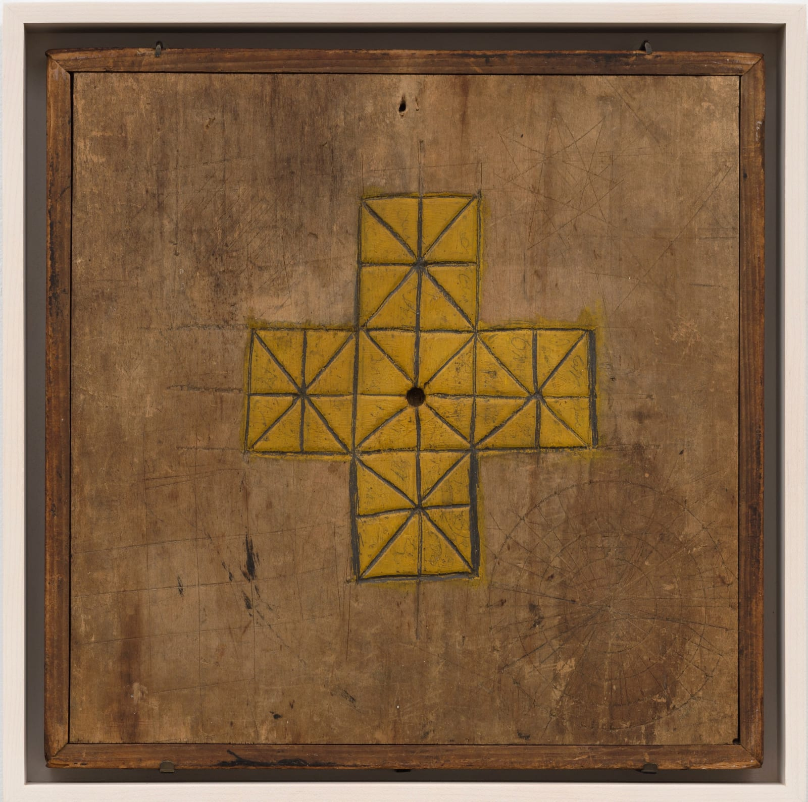 SOLITAIRE GAME BOARD, LATE 19TH CENTURY Polychrome on wood 12 3/4 x 12 1/2 in. (AU 307)