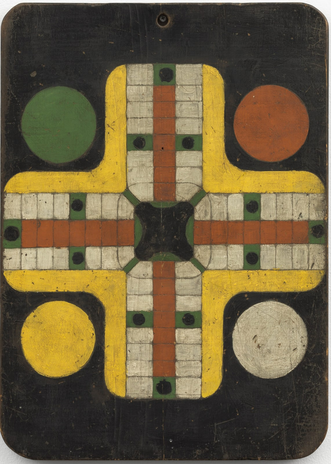 Parcheesi Game Board, c. 1920-30 Polychrome on wood 21 x 15 in. (AU 310)