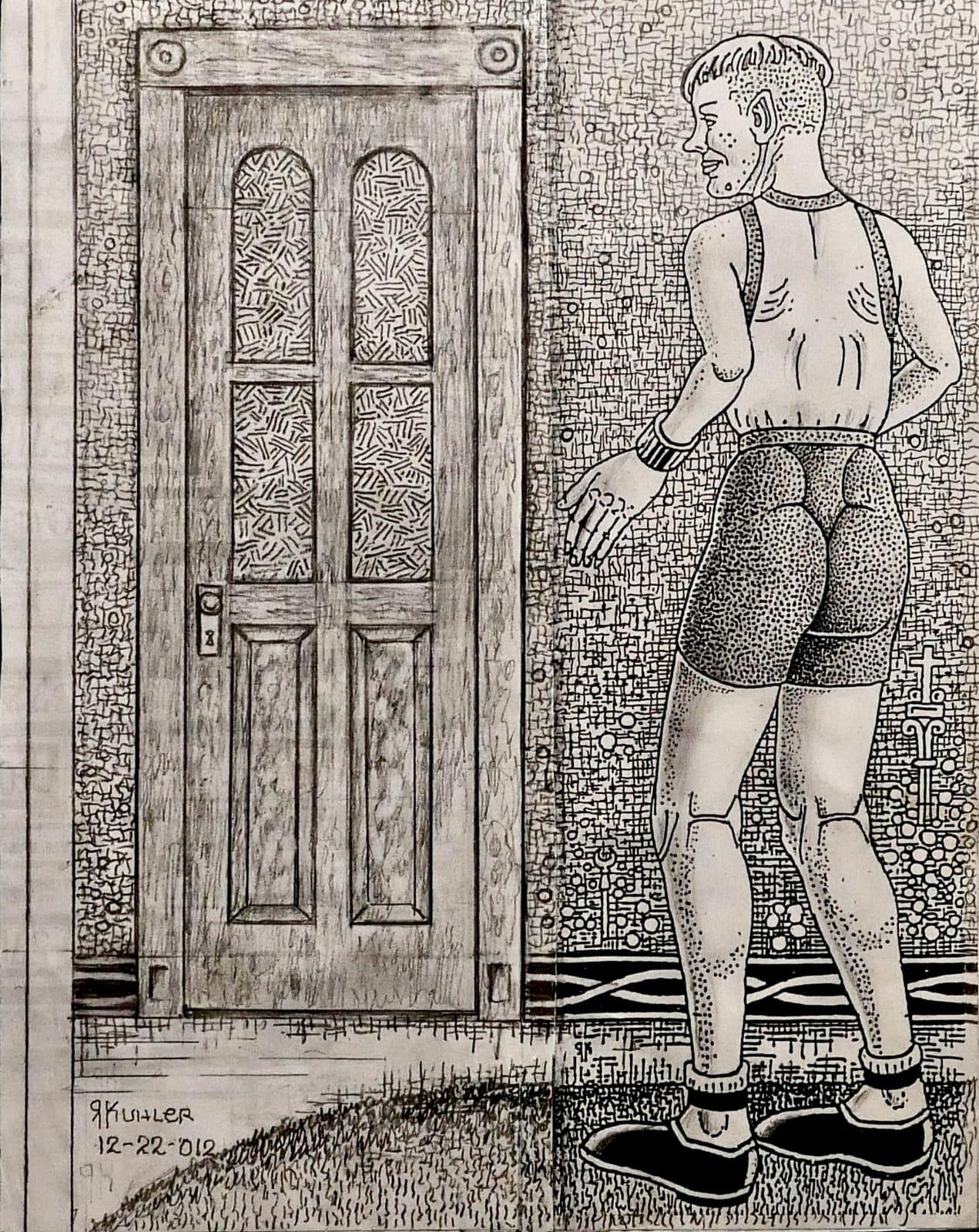 Peekle facing door, 2012 Ink, pencil, gouache on photocopy 11 x 8 1/2 in (RK 114) $7,000