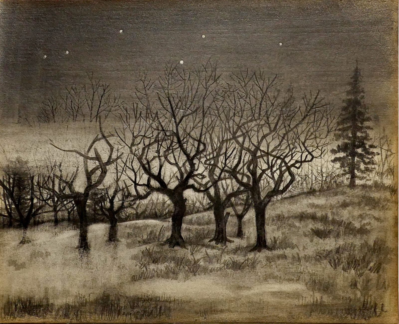Old Wepka Orchard (night) ca. 1960 Pencil on sketch paper 8 x 9 3/4 in (RK 115) $6,500