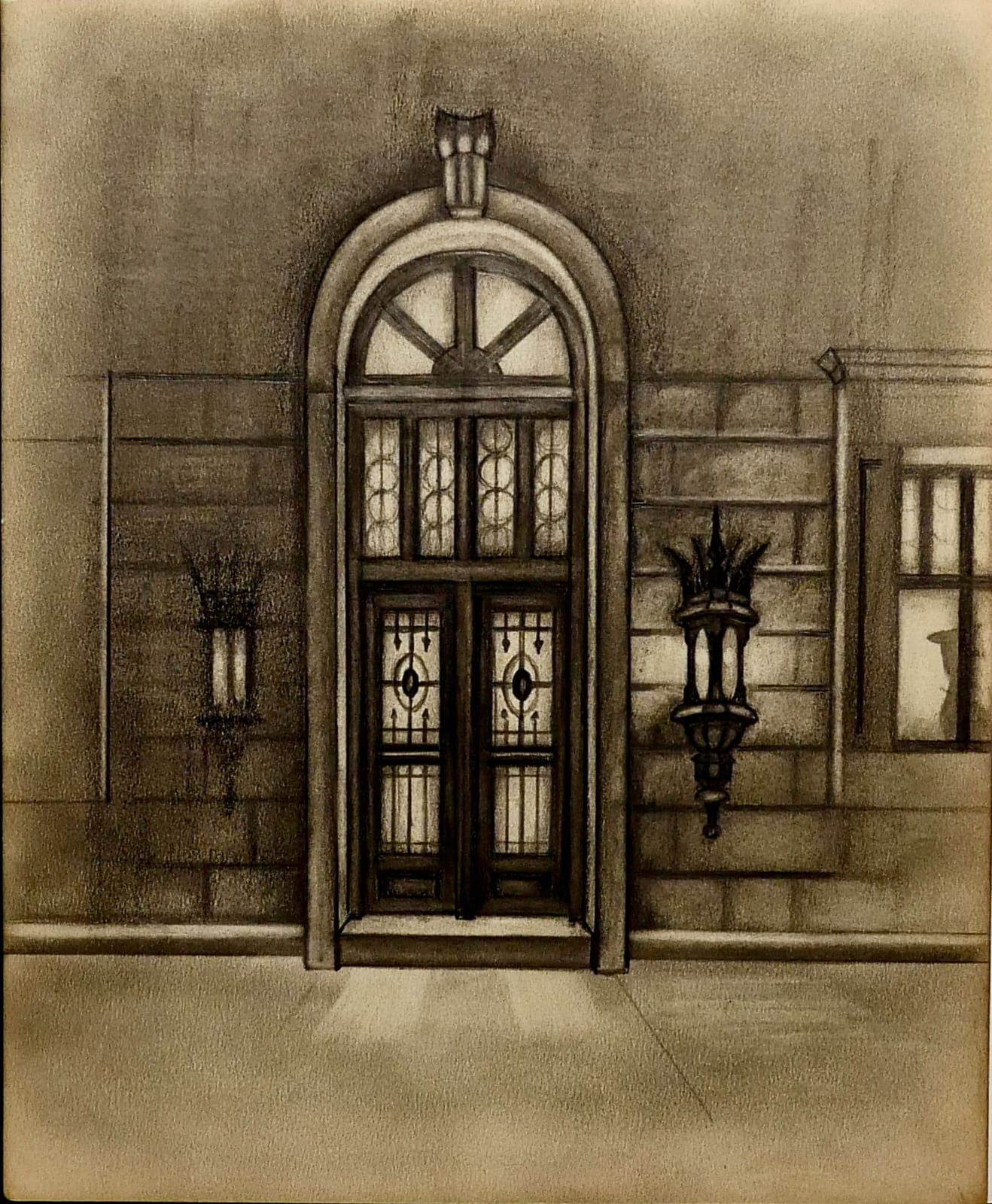 Entrance to Lou Holtz's restaurant at night ca. 1970s Pencil on sketch paper 9 3/4 x 8 in (RK 125) $5,000