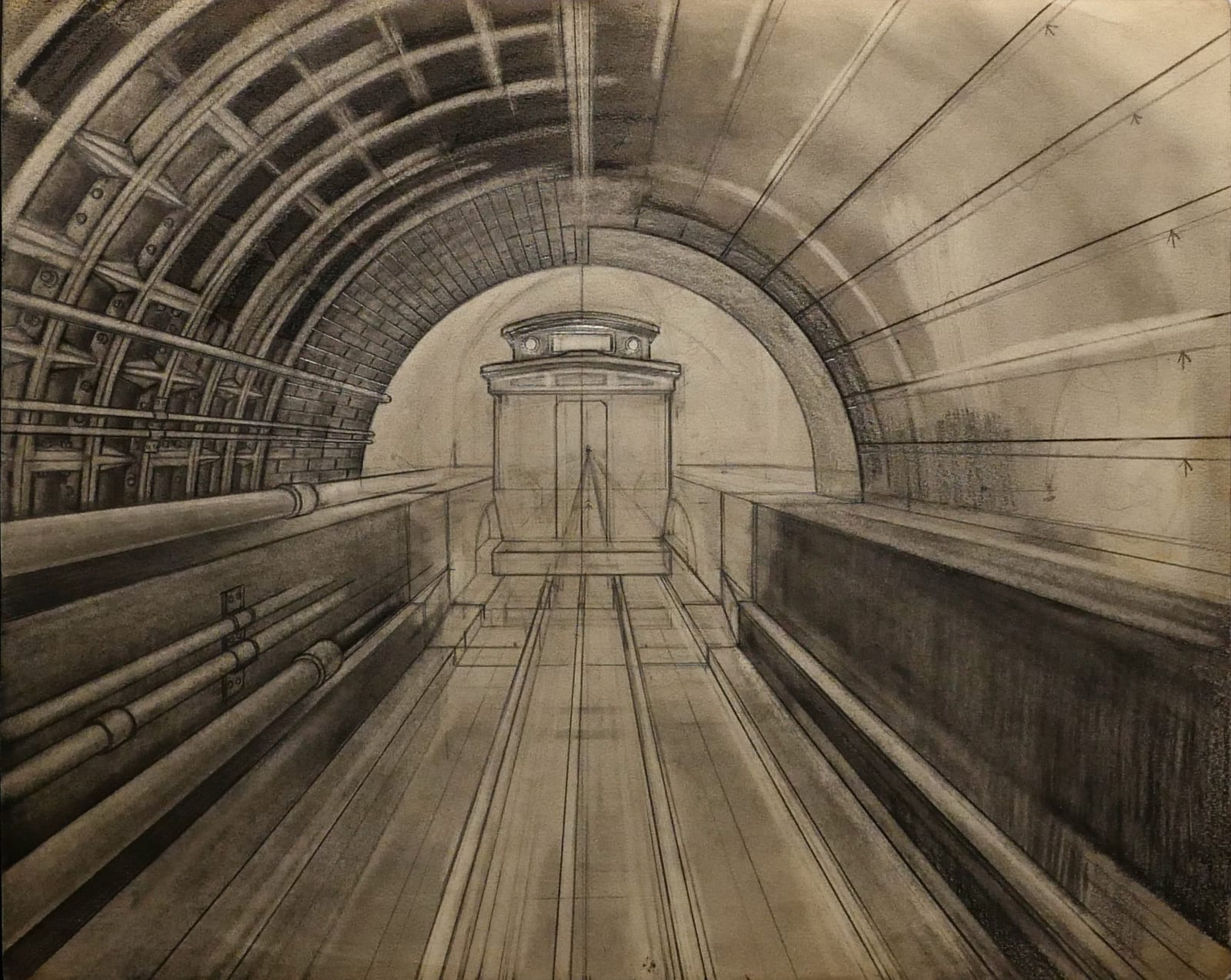 The Oriental tube cable car in tunnel ca. 1960s Graphite on sketch paper 11 x 14 in. (RK 45) $7,000