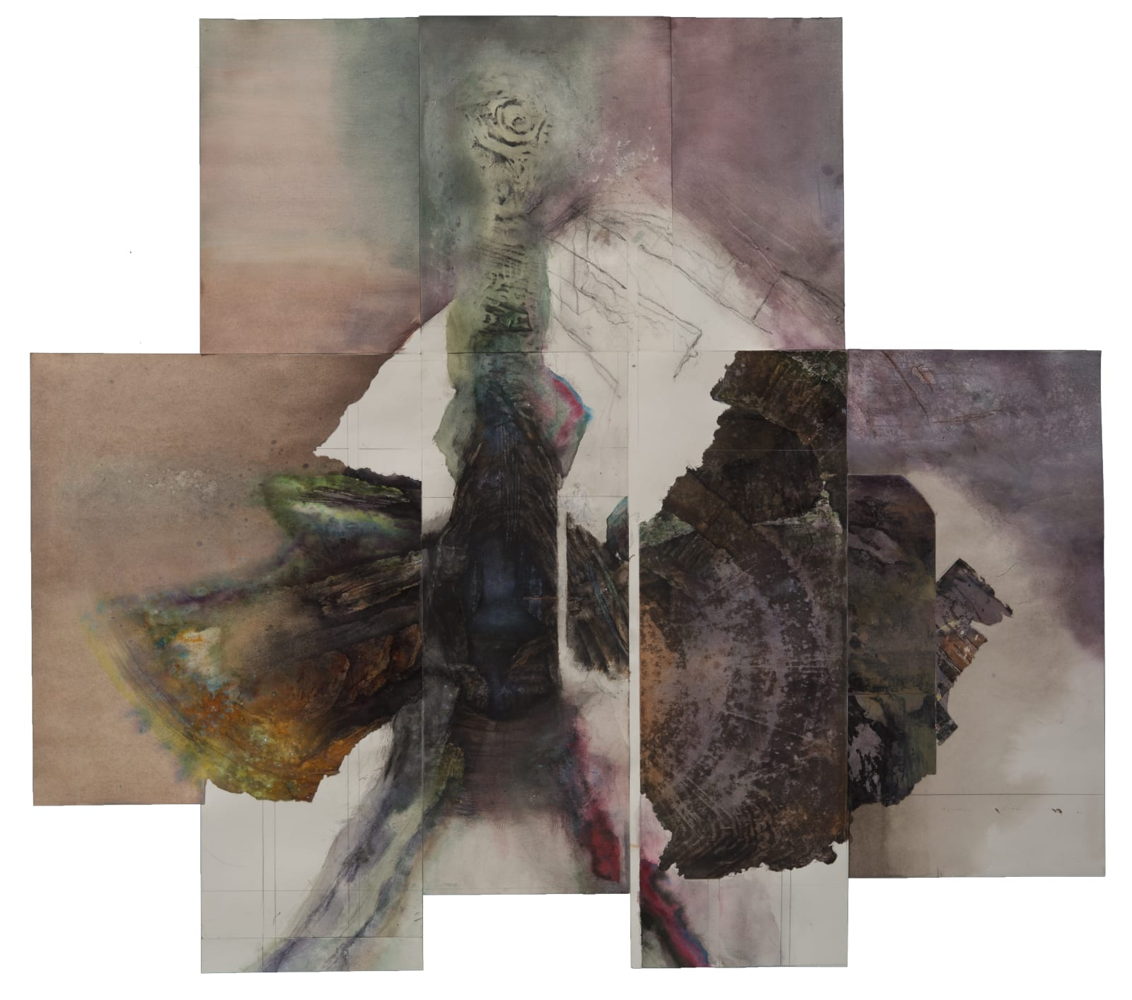 Liminatus Habrodais, 2002 - 2020 Watercolor, acrylic, oil, graphite, Conté crayon, charcoal, and woodcut on pieced paper. 34 x 38 in. (TM 27) $10,000