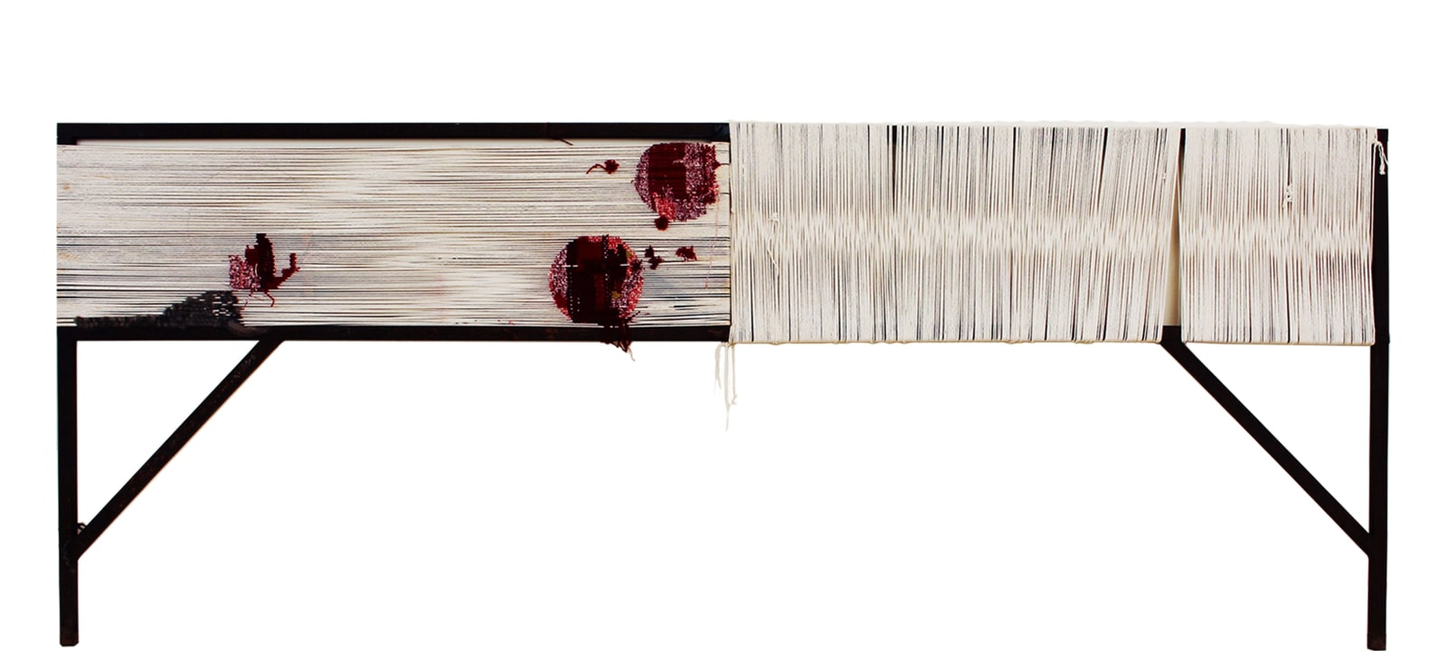 Toni Ross Marking Time, 2021 Cotton, wool, steel armature 46 x 116 1/4 x 2 in. (TR 211) $23,000
