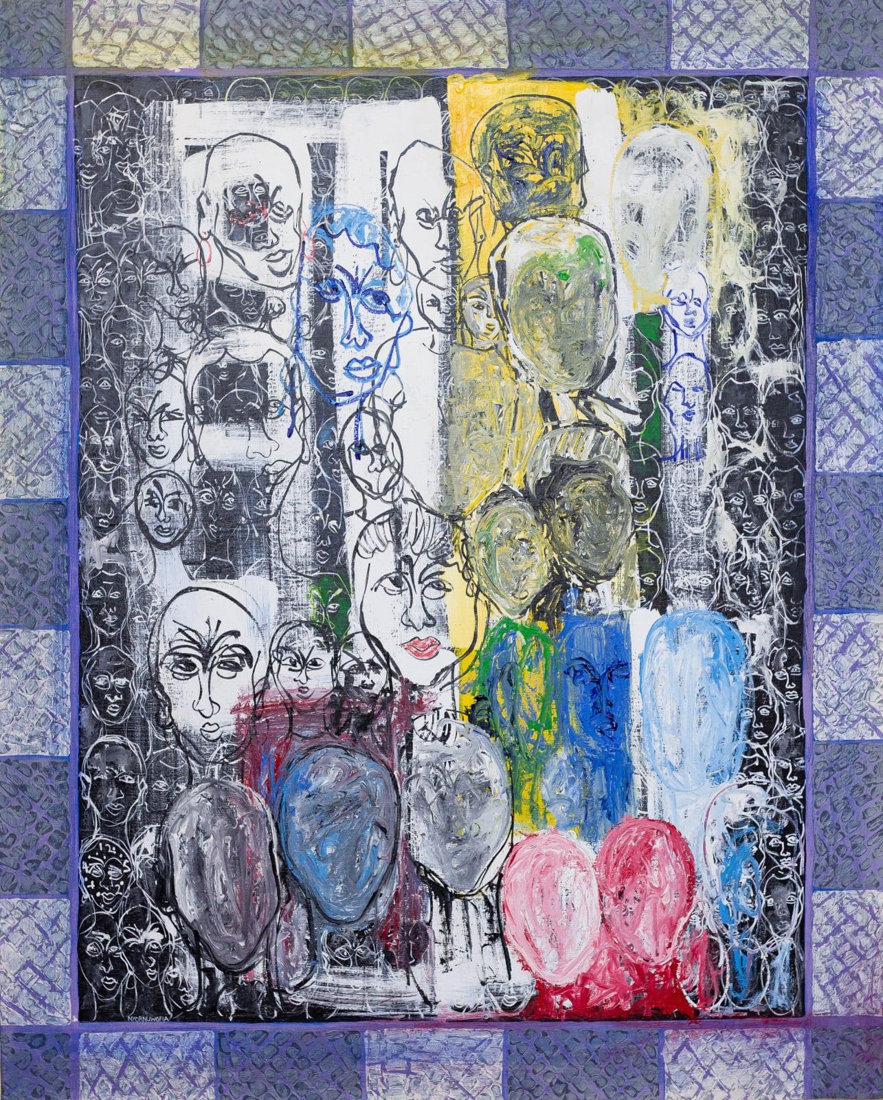 Nyornuwofia Agorsor Positive Moods (2015) 153 x 123 cm Acrylic on canvas