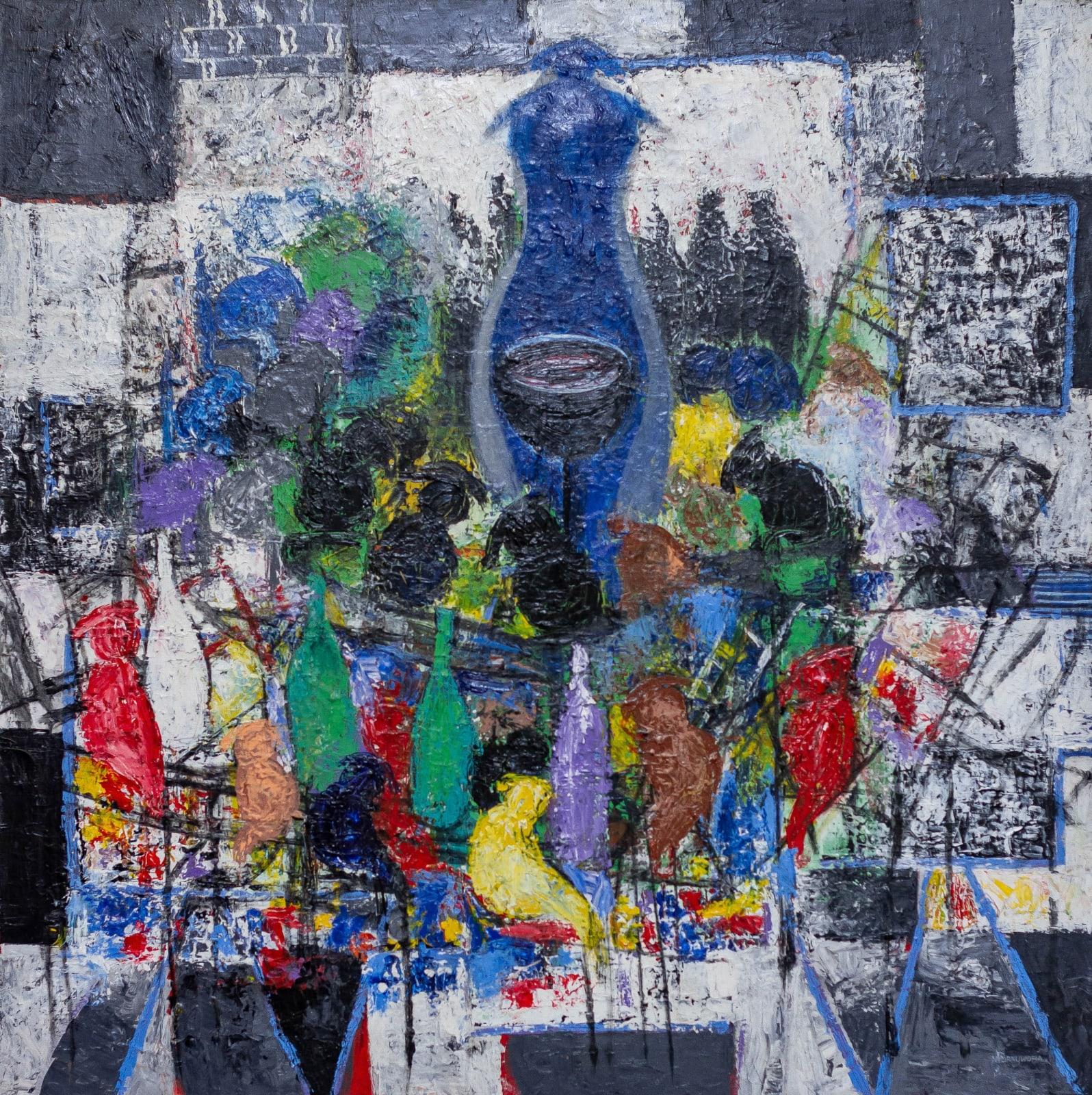 Nyornuwofia Agorsor In her presence (2015) 100 x 100 cm Acrylic on canvas