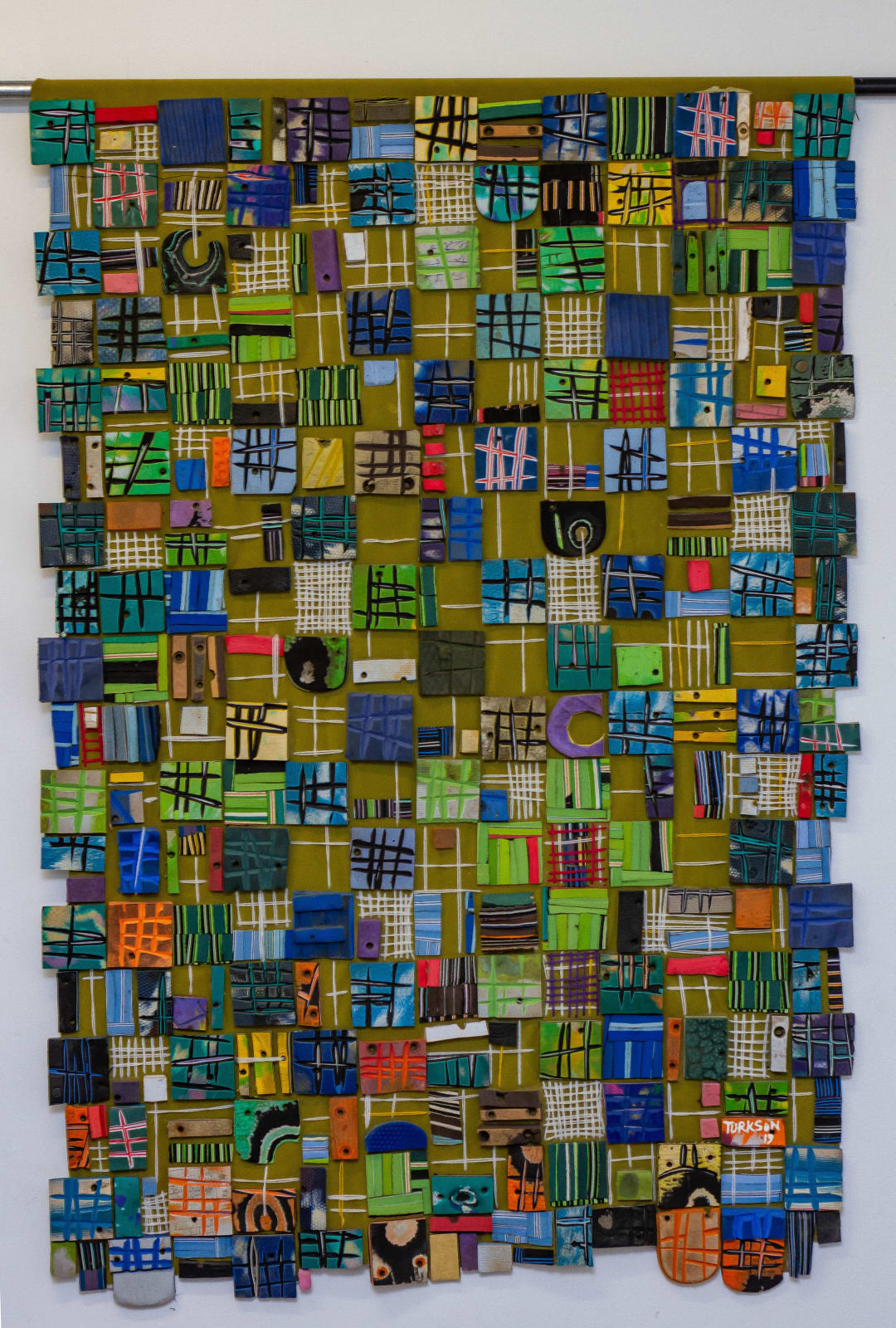 Patrick Tagoe Turkson Abebe 93 x 137 cm Found Flip flops on suede