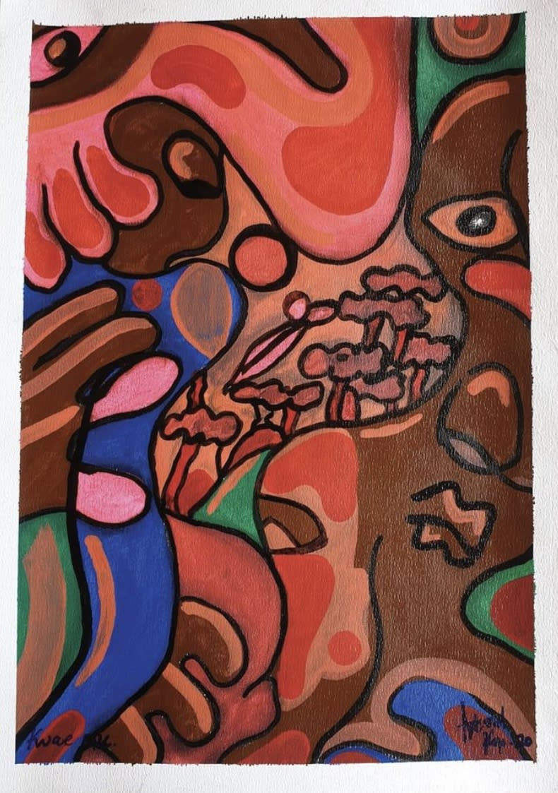 Artsoul Kojo Kwae mu (Inside the forest) 42 x 60 cm Painting