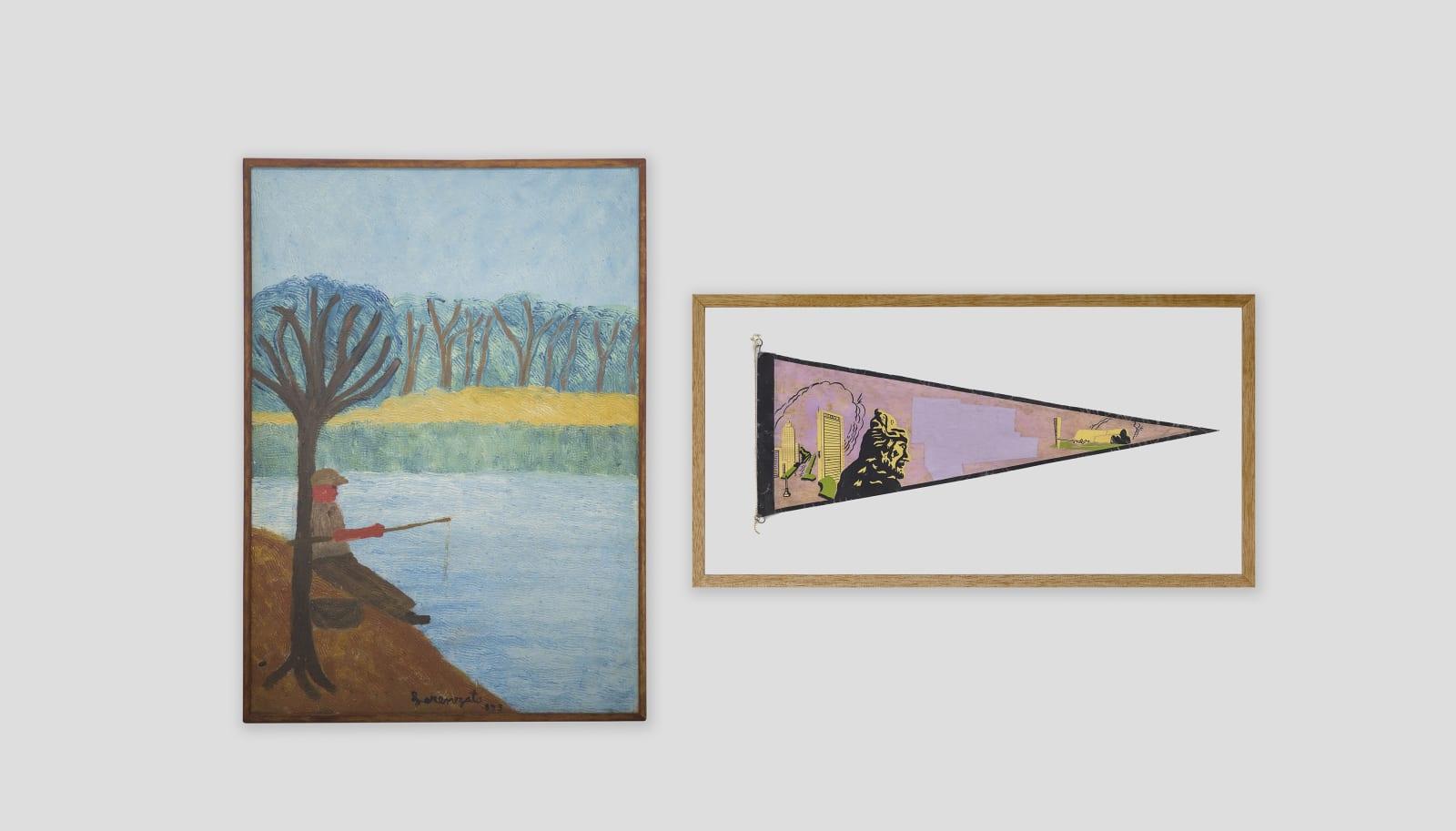 LORENZATO Pescador, 1983 Óleo sobre tela e madeira 61,5 x 44 cm BRUNO FARIA Lembranças de Paisagem I Belo Horizonte, 2020 Pintura e serigrafia sobre tecido 32 x 61,5 cm