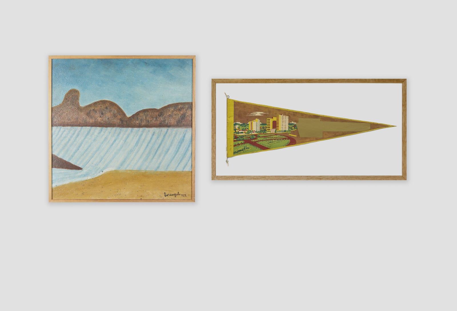 LORENZATO Marinha, 1982 Óleo sobre tela e madeira 46,5 x 46,5 cm BRUNO FARIA Lembranças de Paisagem I Belo Horizonte, 2017 Pintura e serigrafia sobre tecido 32 x 61,5 cm