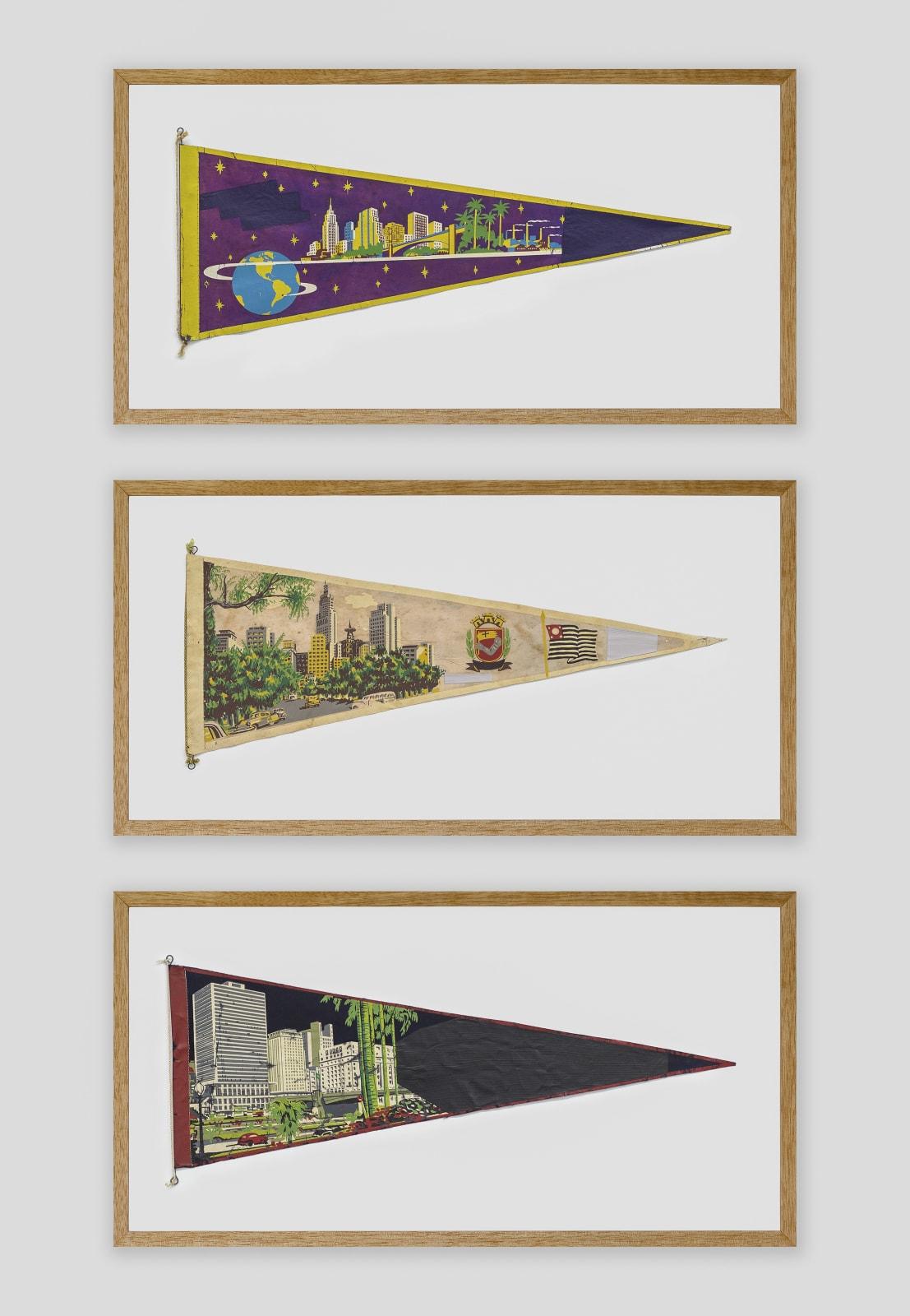 Bruno Faria Lembranças de Paisagem I São Paulo, 2020 Pintura e serigrafia sobre tecido, Tríptico aprox. 102 x 61,5 cm