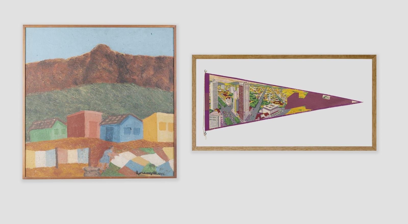 LORENZATO Lavadeira, 1994 Óleo sobre tela e madeira 51,5 x 51,5 cm BRUNO FARIA Lembranças de Paisagem I Belo Horizonte, 2016 Pintura e serigrafia sobre tecido 32 x 61,5 cm