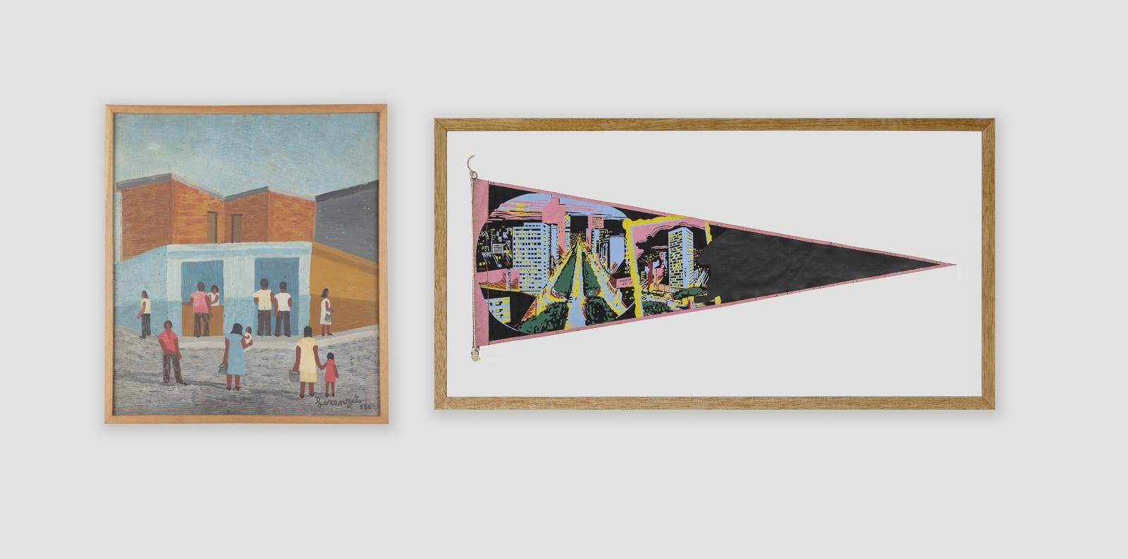 LORENZATO Venda, 1980 Óleo sobre tela e madeira 35 x 31 cm BRUNO FARIA Lembranças de Paisagem I Belo Horizonte, 2020 Pintura e serigrafia sobre tecido 32 x 61,5 cm