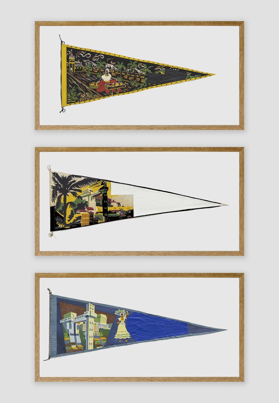 Bruno Faria Lembranças de Paisagem I Salvador, 2020 Pintura e serigrafia sobre tecido, Tríptico aprox. 102 x 61,5 cm