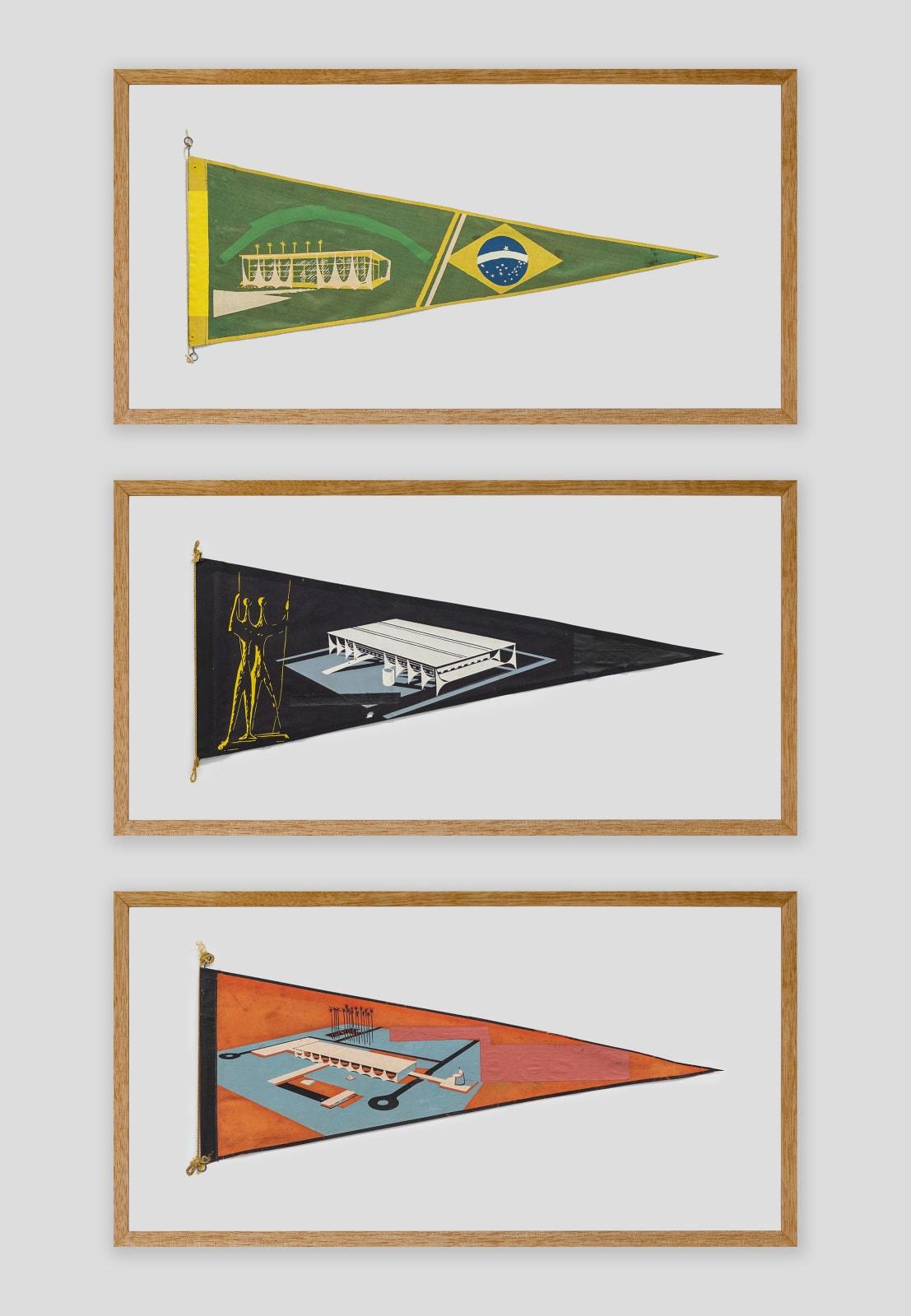Bruno Faria Lembranças de Paisagem I Brasília, 2020 Pintura e serigrafia sobre tecido, Tríptico aprox. 102 x 61,5 cm