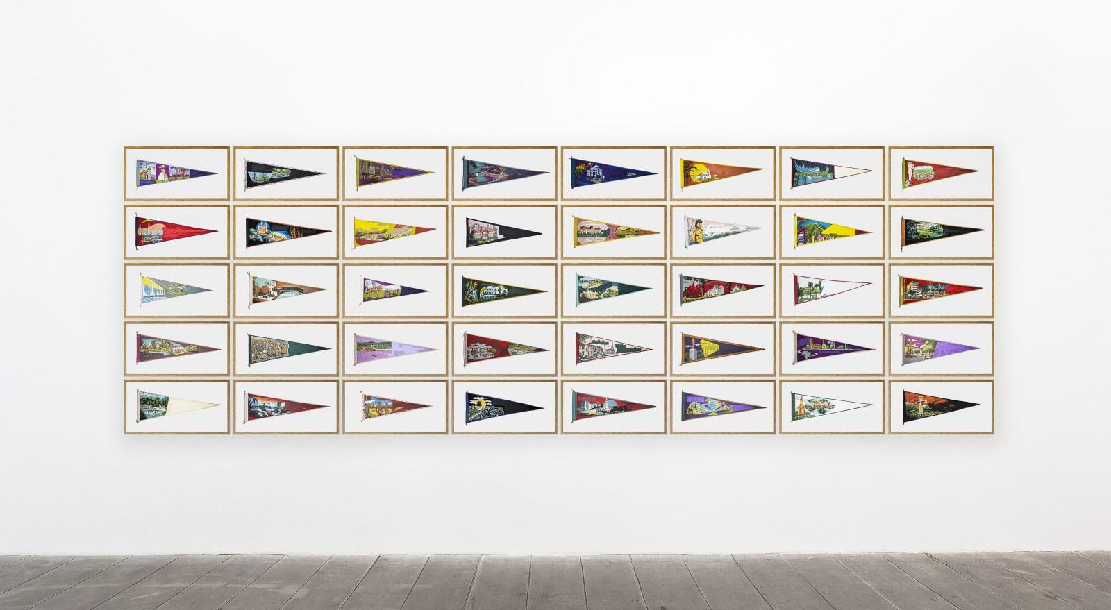 BRUNO FARIA Lembranças de Paisagem   Brasil, 2020 Pintura e serigrafia sobre tecido (Conjunto de 40 obras representando diversas cidades do Brasil) aprox. 172 x 513 cm