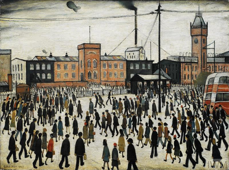 Imperial War Museum, London LS Lowry, 'Going To Work', 1943, oil on canvas, 18 x 24 in, 45.7 x 60.9 cm