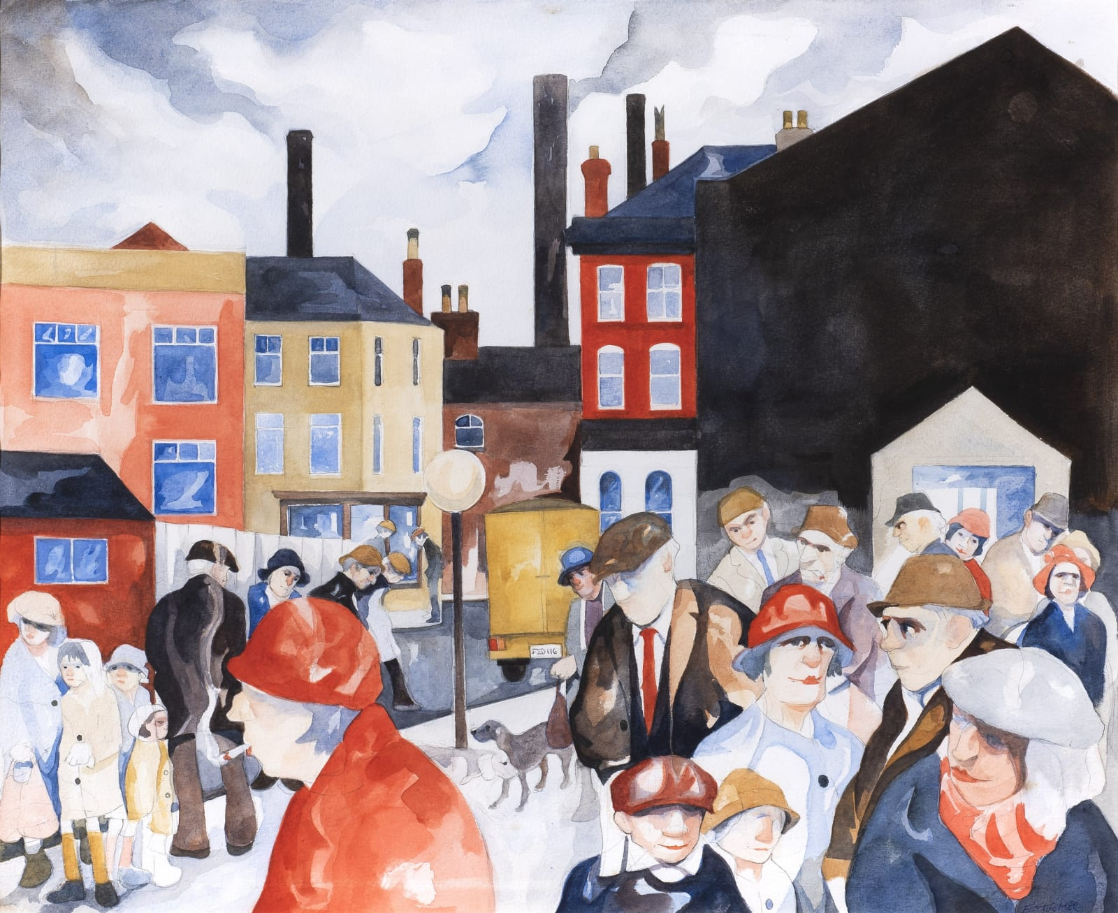 Eric Tucker, 'Backstreet Crowd', Watercolour and pencil on paper, 14 5/8 x 17 3/4 in, 37 x 45 cm