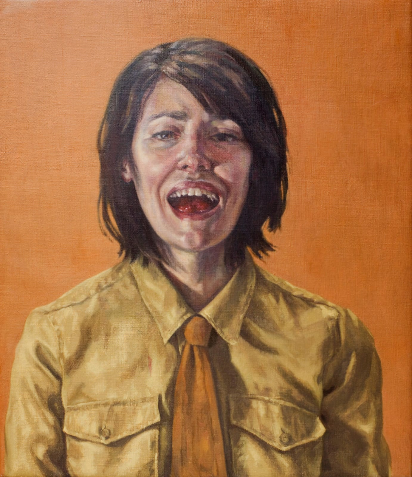 Roxana Halls, Laughing with my Mouth Full , 2012 Oil on linen 70 × 60 × 10 cm