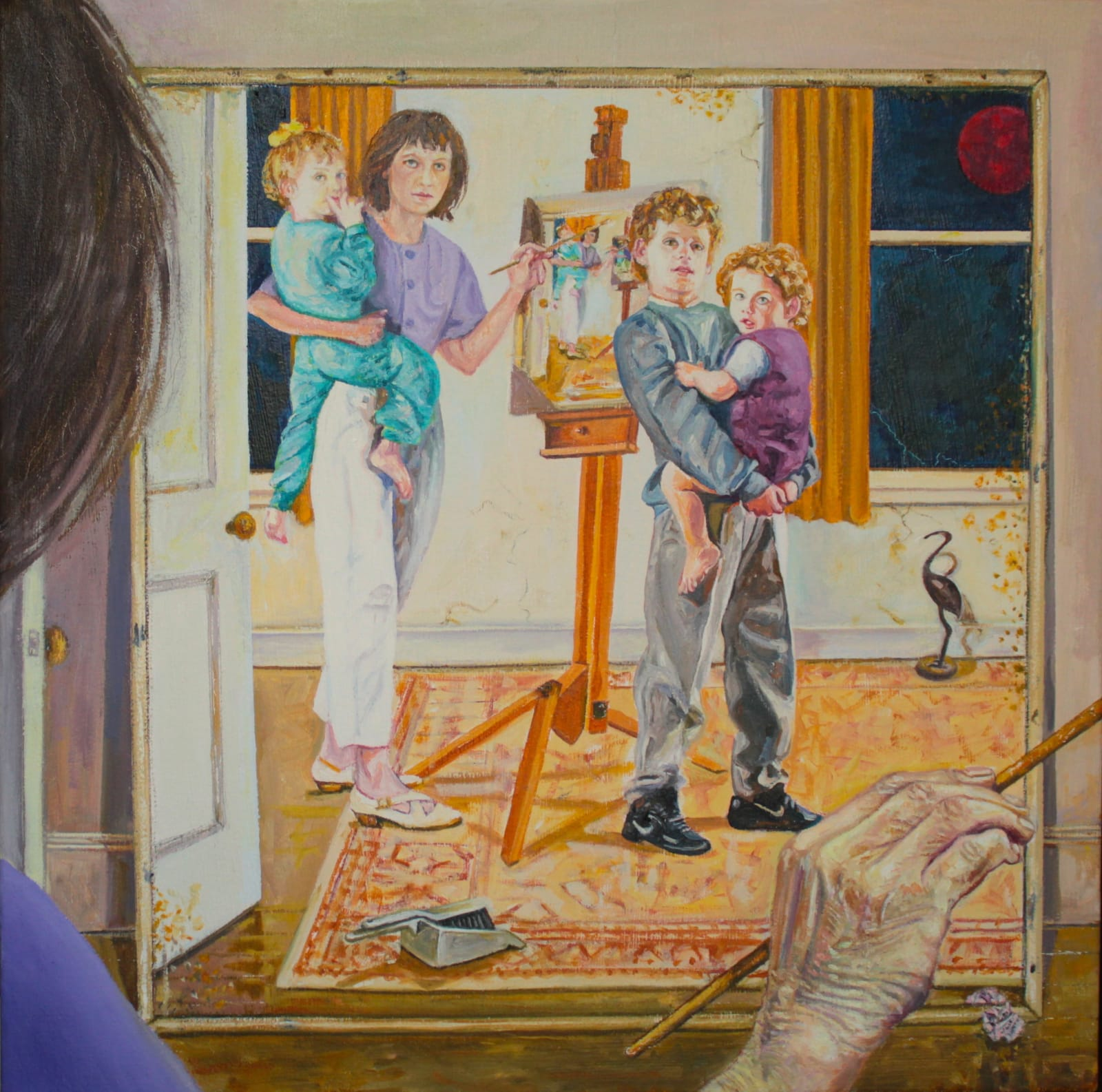 Wendy Elia Time just slips…(self-portrait with kids), 2019 Oil on canvas 44 x 44cm £2,200
