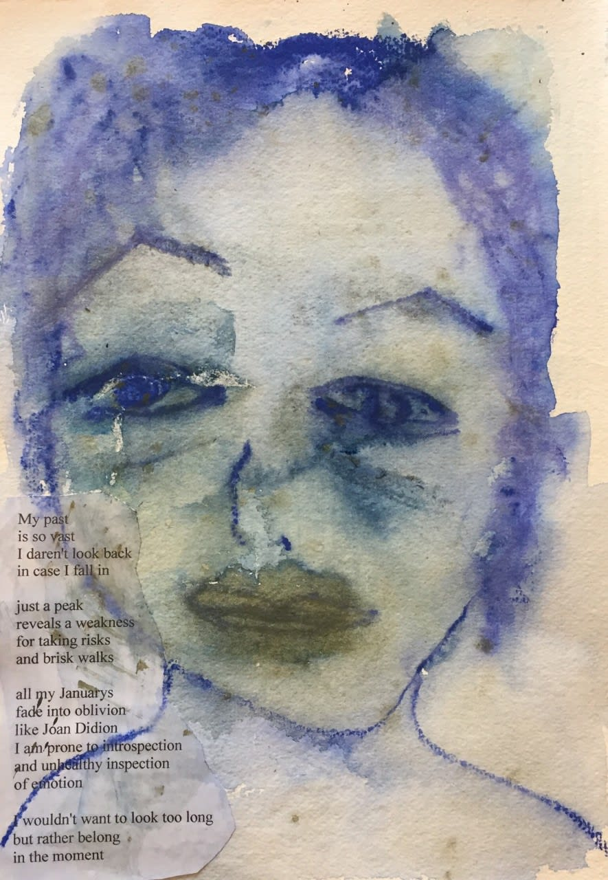 Sipora Levy Self Portrait and Poem, 2019 Mixed media on khadi paper 28.5 x 37cm £900