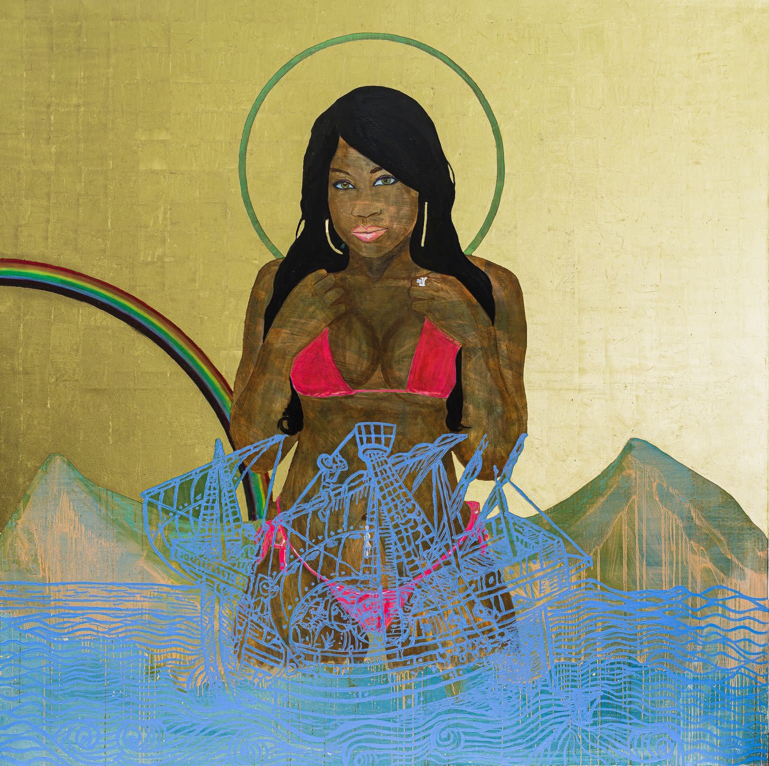 Godfried Donkor Black Madonna with Rainbow, 2010 Oil and Gold Leaf on canvas 200 x 200 cms 78 3/4 x 78 3/4 inches