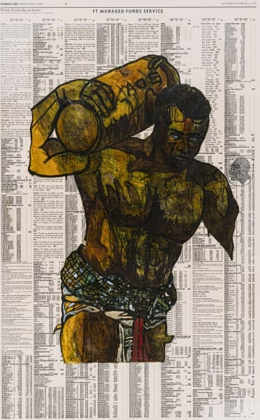 Godfried Donkor Olympians XIX, 2018 Oil and Acrylic on Paper Framed: 221.5 x 145 cms 87 1/4 x 57 1/8 inches