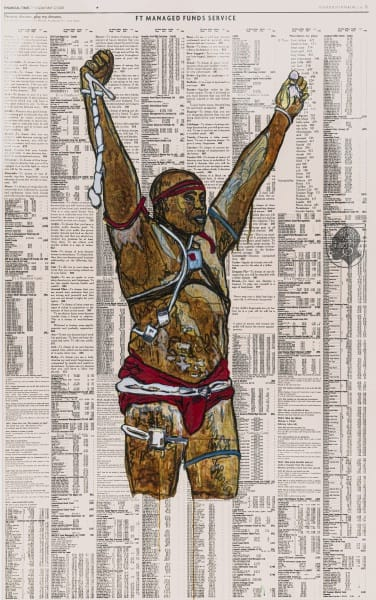 Godfried Donkor Olympians XVII, 2018 Oil and Acrylic on Paper Framed: 221.5 x 145 cms 87 1/4 x 57 1/8 inches