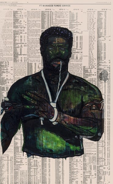 Godfried Donkor Olympians XX, 2021 Oil and Acrylic on Paper Framed: 221.5 x 145 cms 87 1/4 x 57 1/8 inches