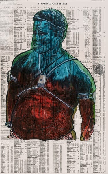 Godfried Donkor Olympians XXI, 2021 Oil and Acrylic on Paper Framed: 221.5 x 145 cms 87 1/4 x 57 1/8 inches