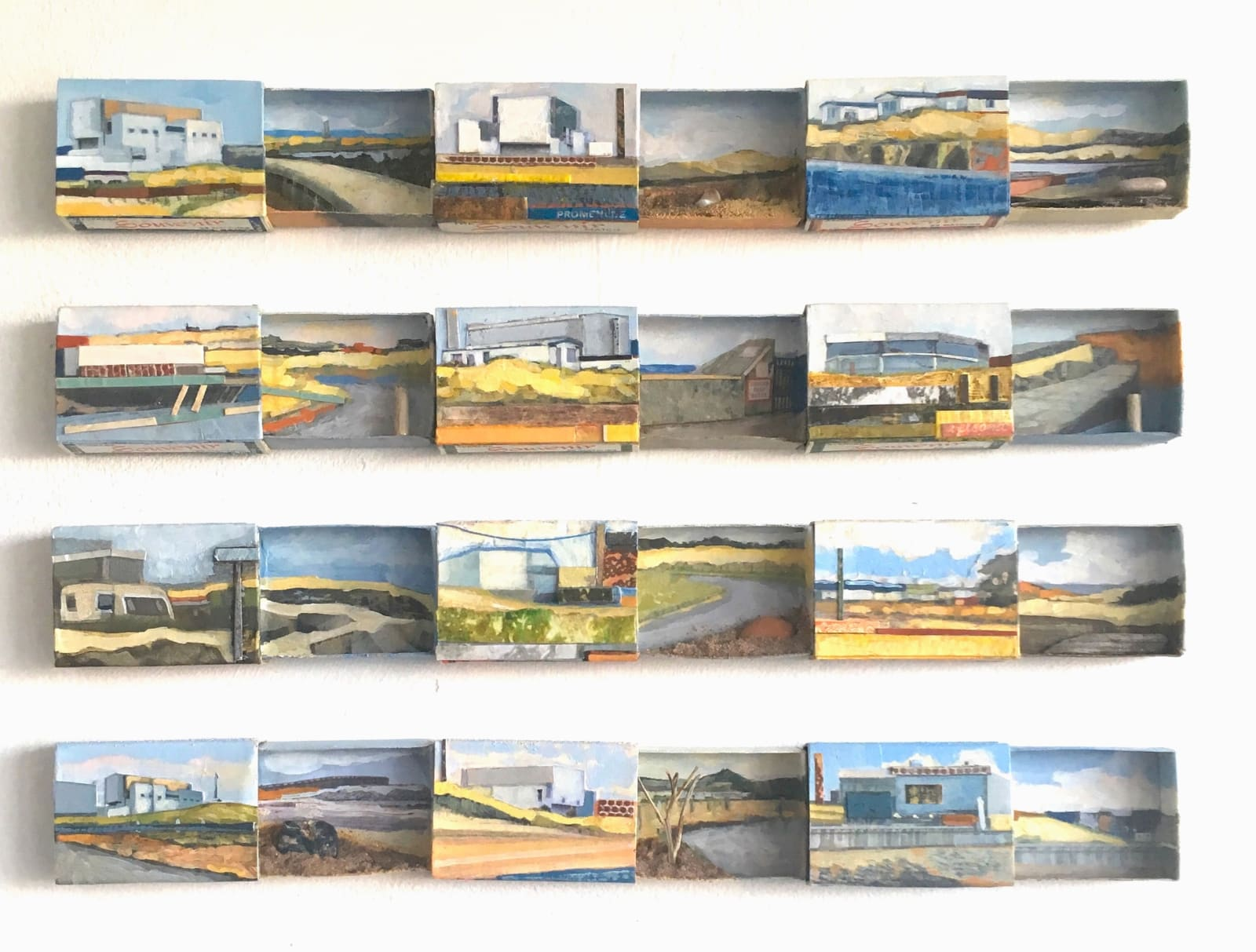 'Wish You Were Here - Torness' Acrylic, collage, found objects and Souvenir Matchboxes