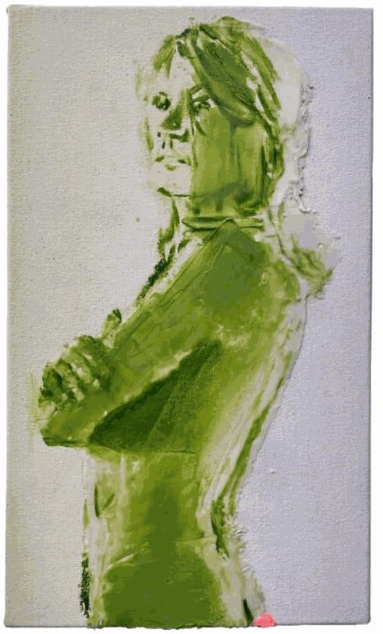 Nina Childress Petit Patrick phospho bleu, 2021 Phosphorescent pigments and oil on canvas 16h x 9 1/2w in 41h x 24w cm