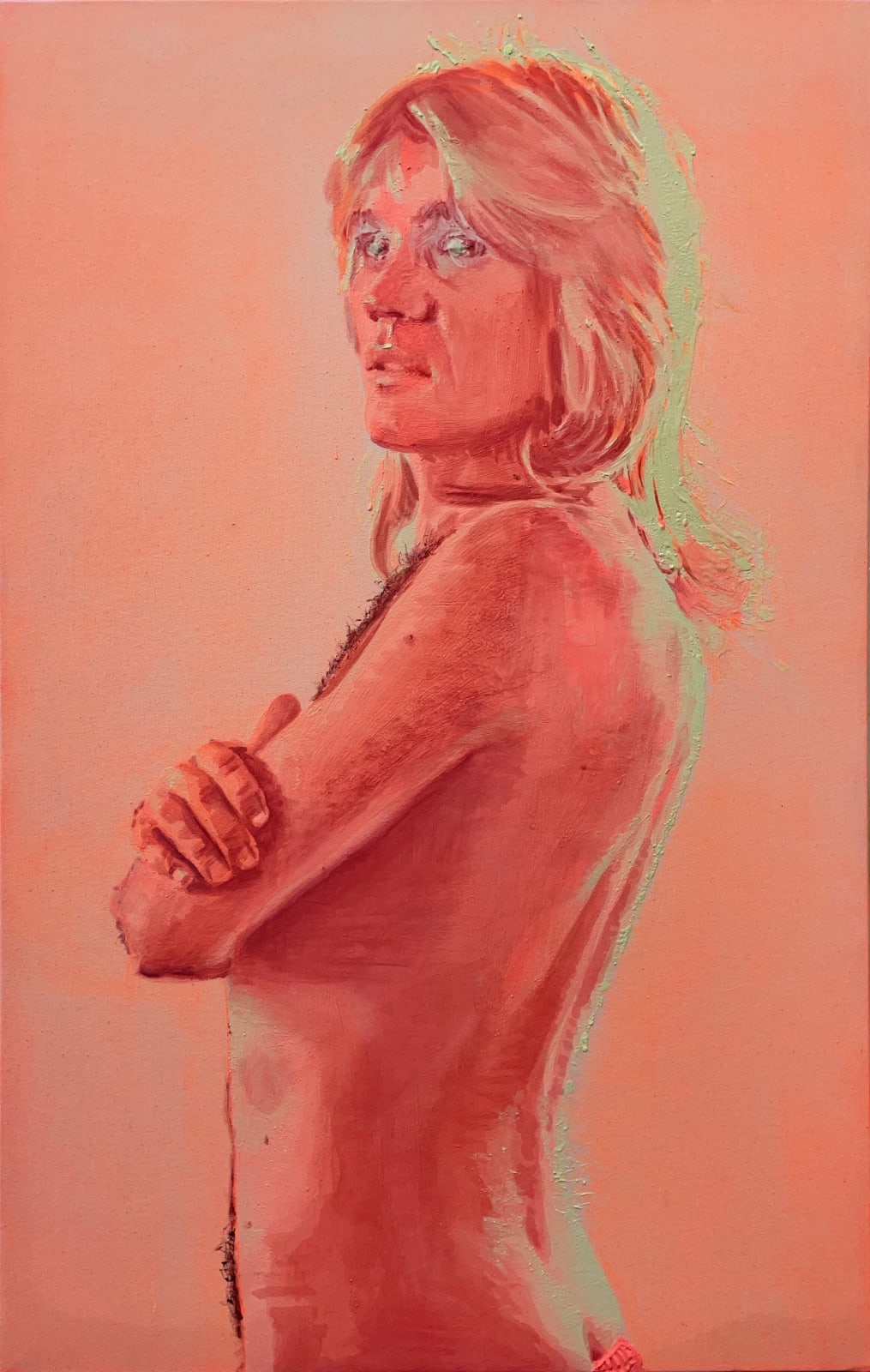 Nina Childress Patrick à poil, 2021 Oil paint and phosphorescent pigments on canvas 51h x 31w in 130h x 81w cm