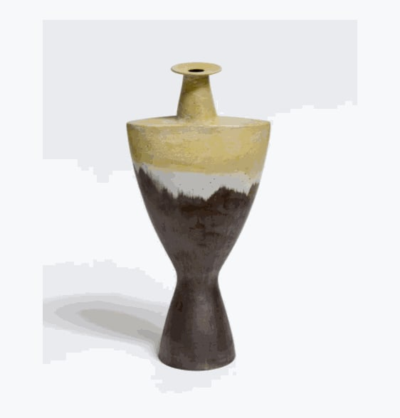 Wayne Ngan, Light Yellow, White and Grey Sculptural Vase, 2016