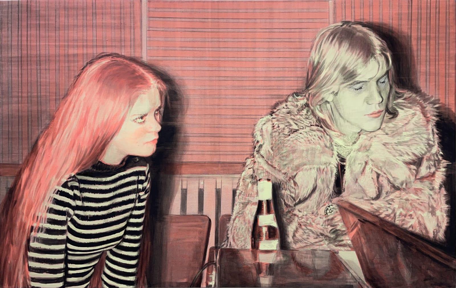 Nina Childress Patrick et la fille rousse, 2021 Phosphorescent pigments, hair, and oil paint on canvas 74 3/4 x 118 1/8 in 190 x 300 cm