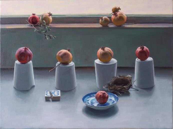 "Carol Ivey, Pomegranate Grouping, 2013, Carol Ivey, oil on canvas, 24 x 32"""